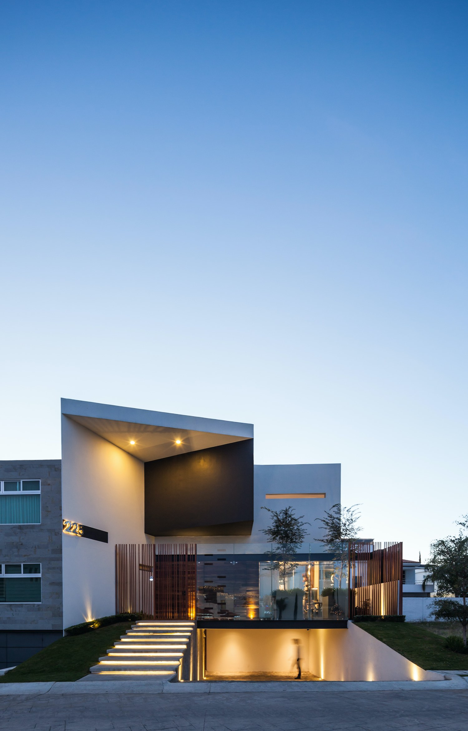 modern house in Mexico with illumination at night