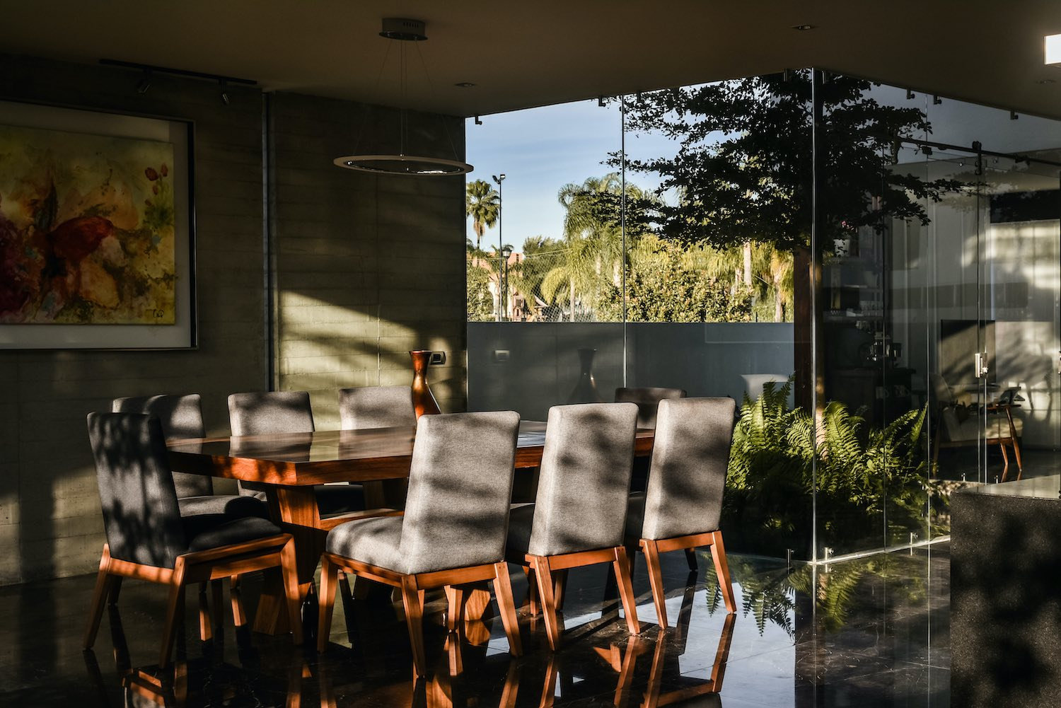 sunlight hitting the dining table and chairs