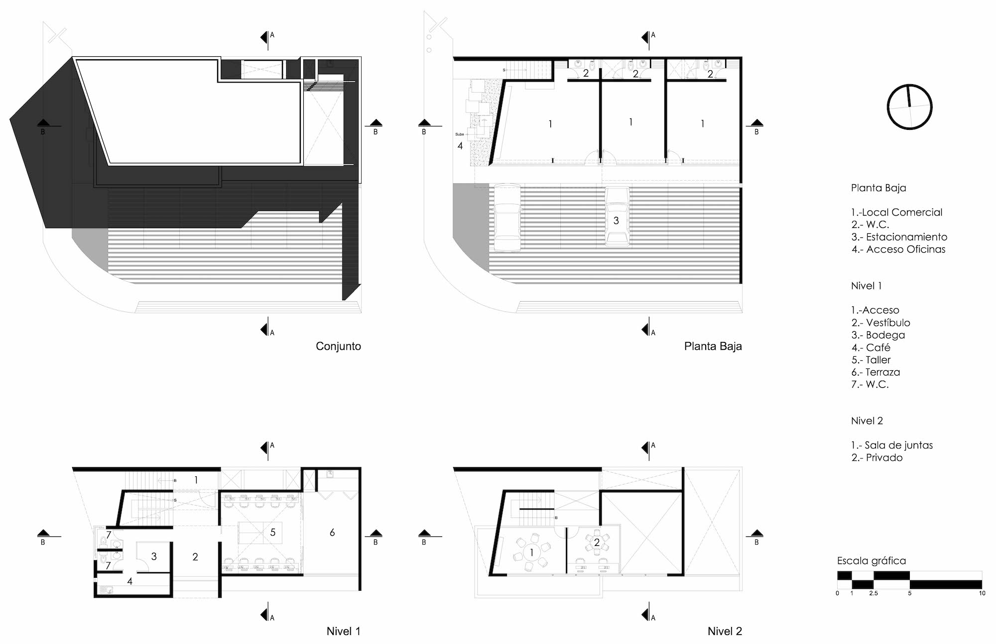 architectural plans for an office building