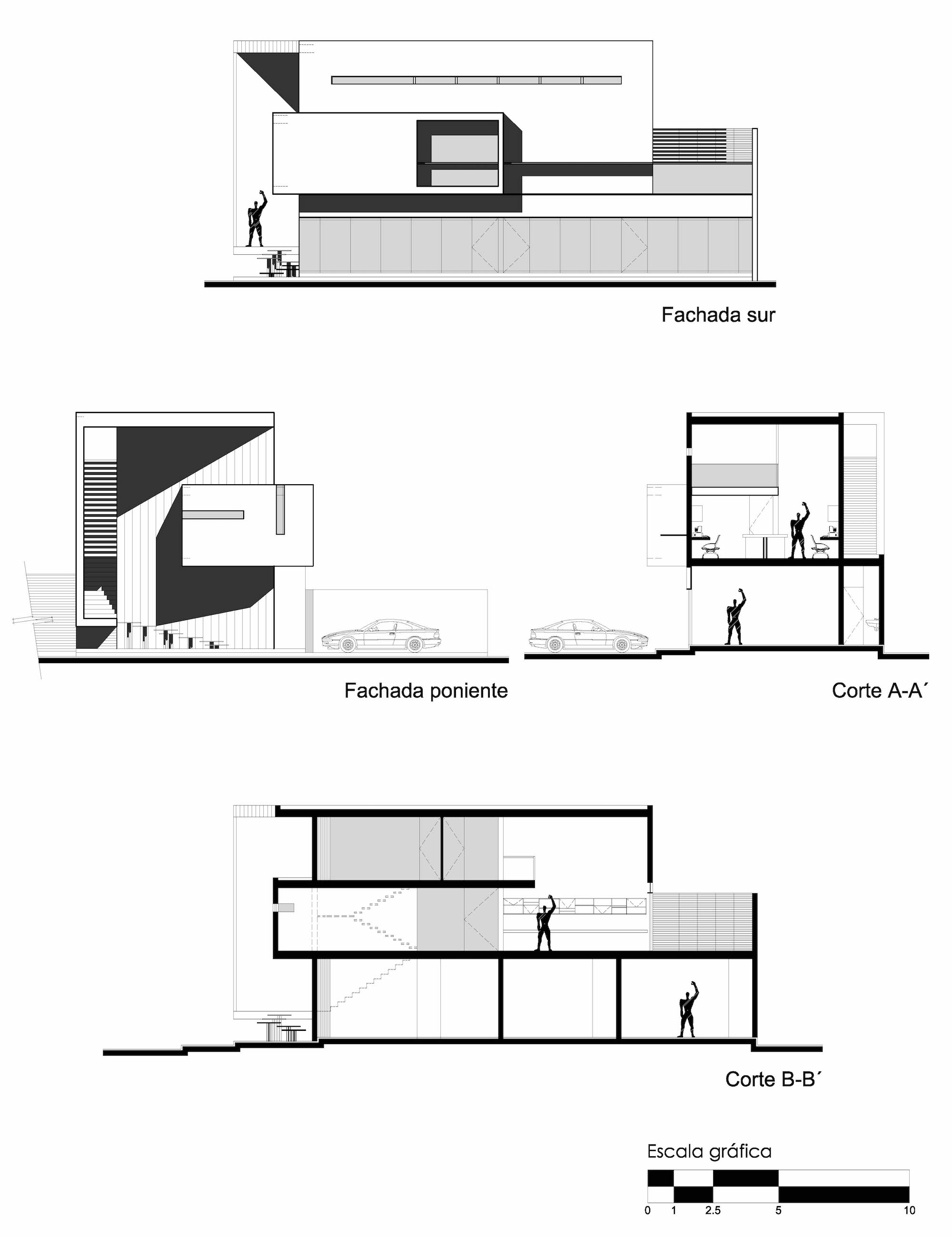 architectural sections and elevations