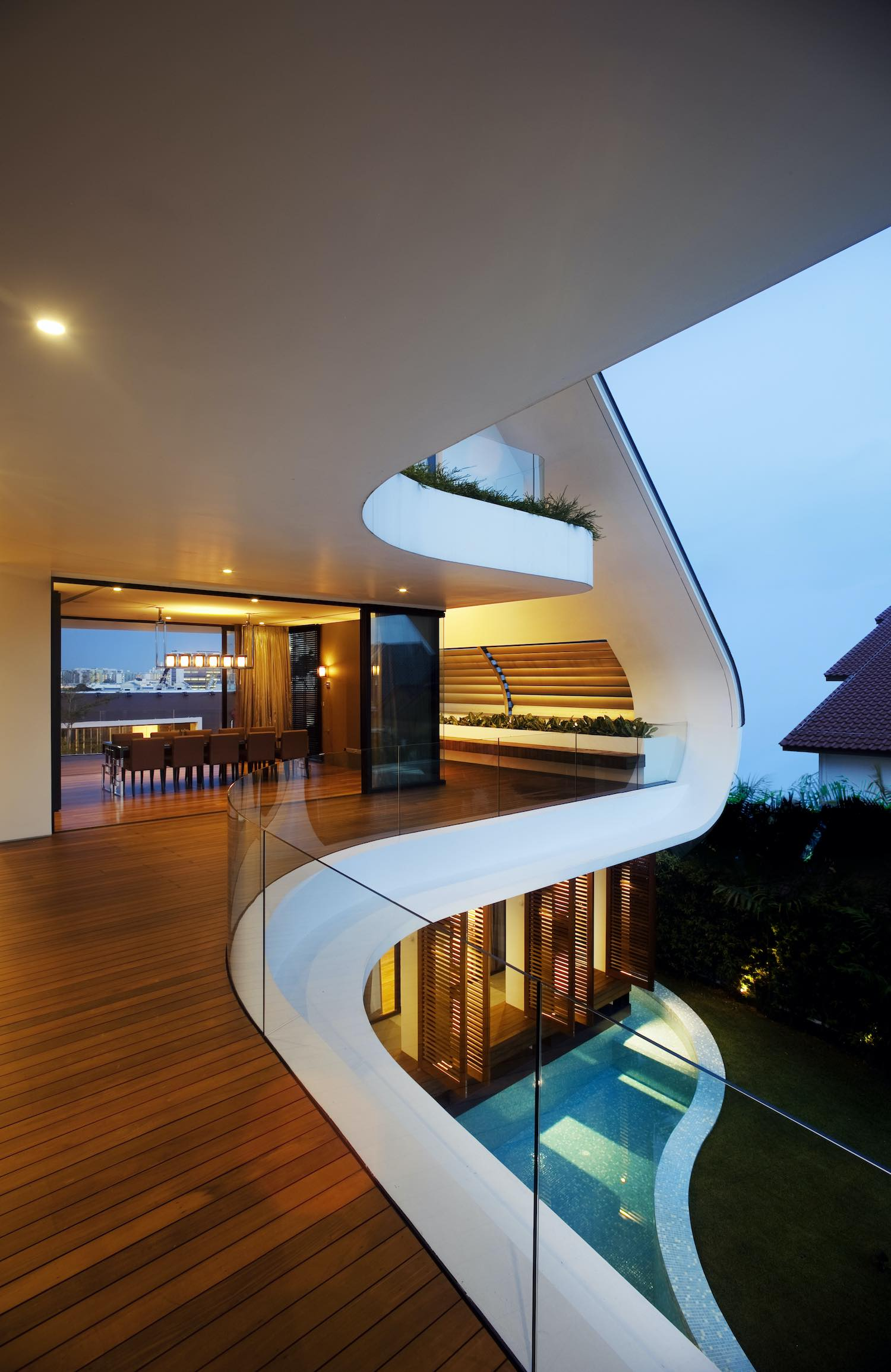 curvy balconies covered with parquet wood material