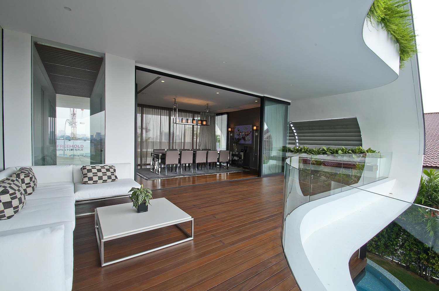 comfortable living area at terrace with white sofa