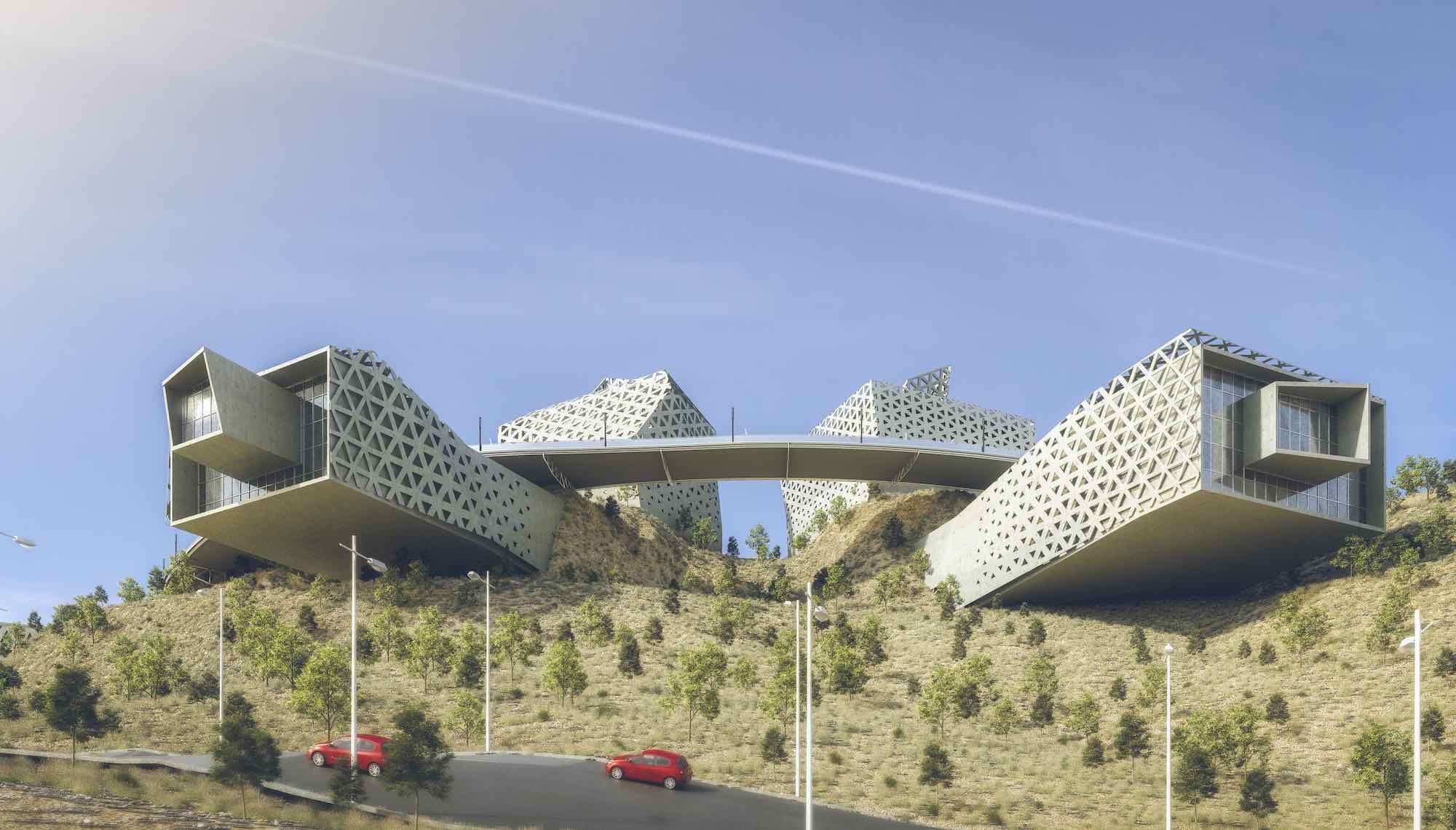 a huge cantilevered museum building in Egypt