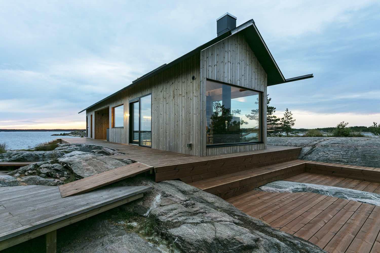 a modern cabin house in archipelago
