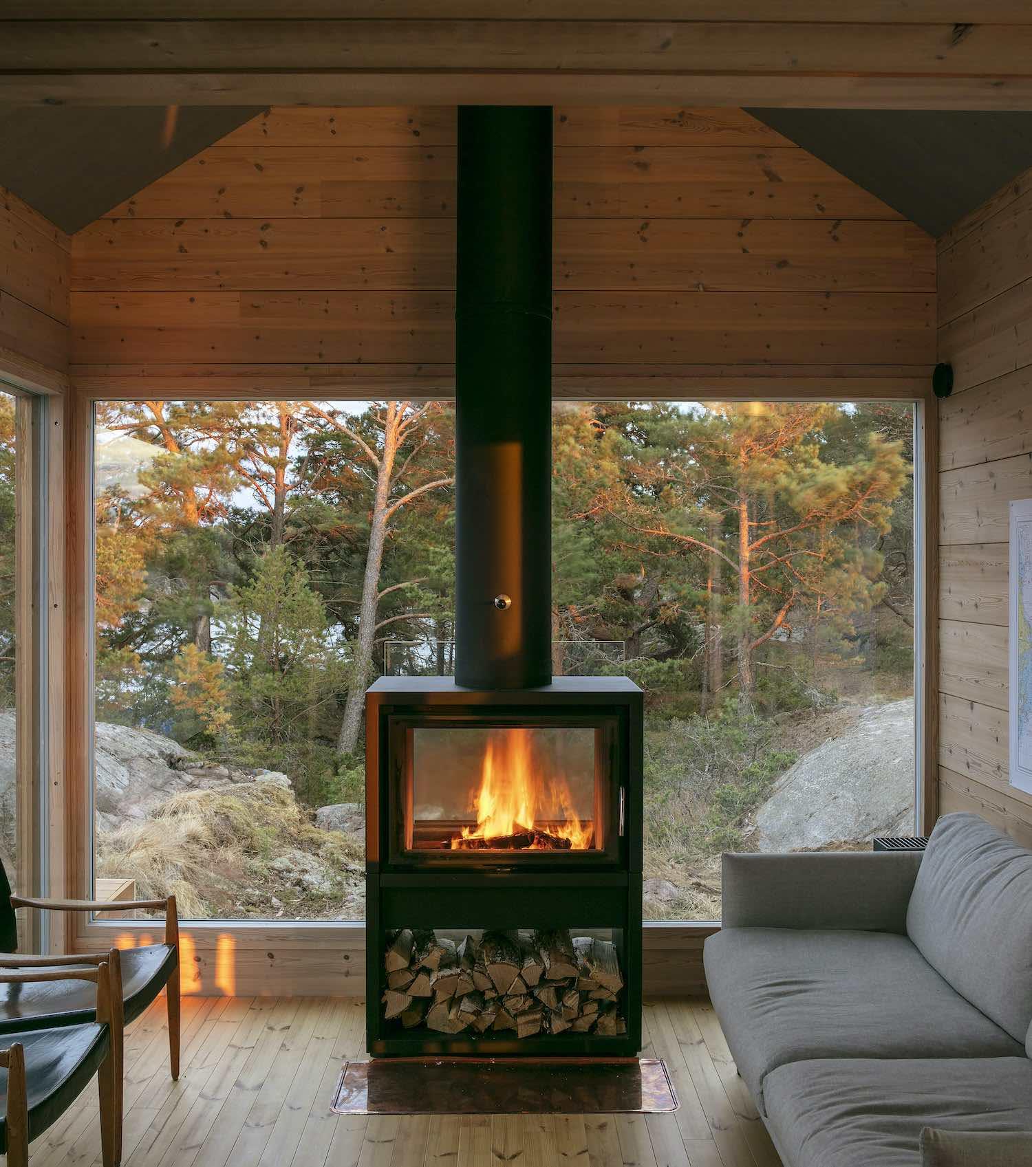 a black metallic fire chimney inside cabin