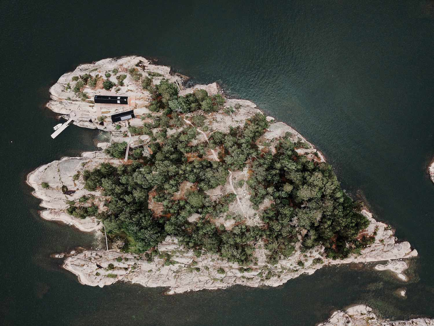 aerial view of the island