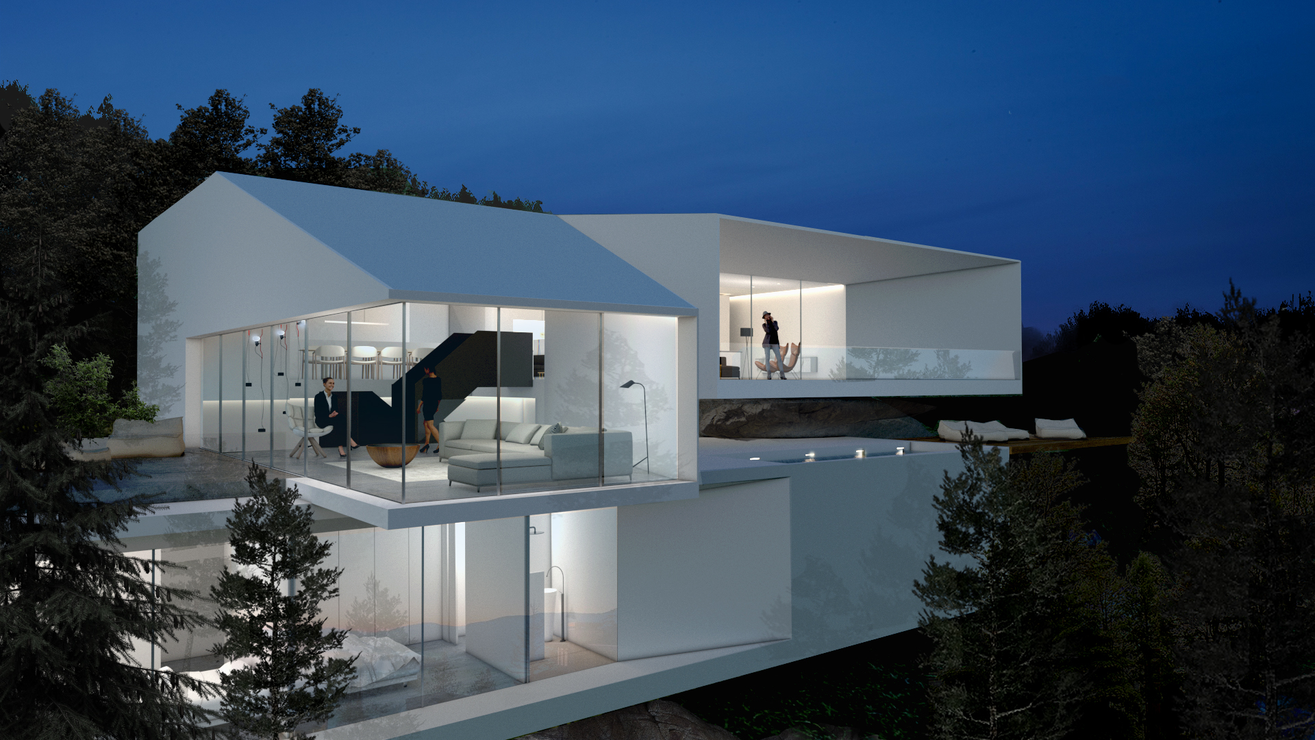 a minimalist White House surrounded by nature