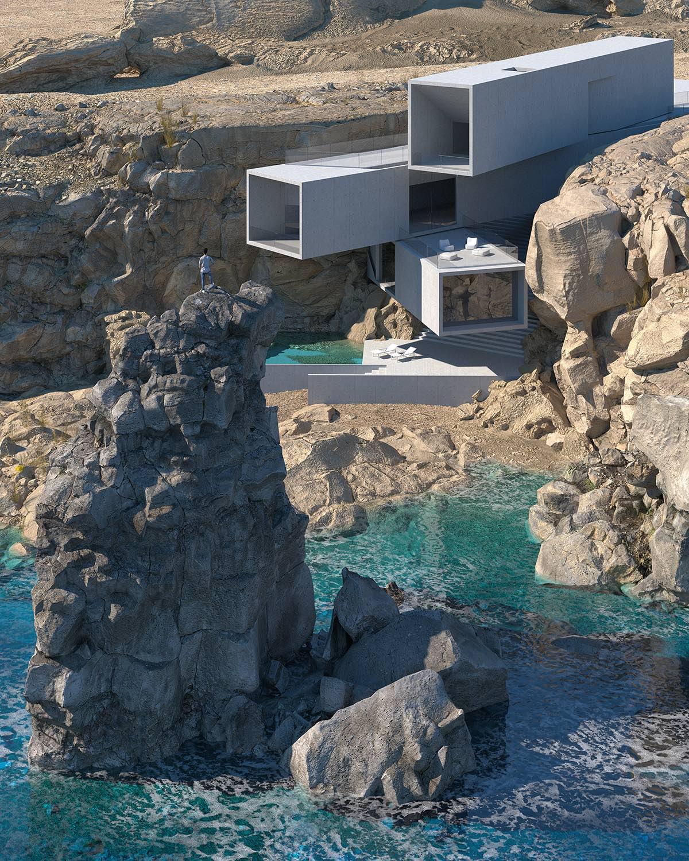 House on a rocky shore designed by Amey Kandalgaonkar