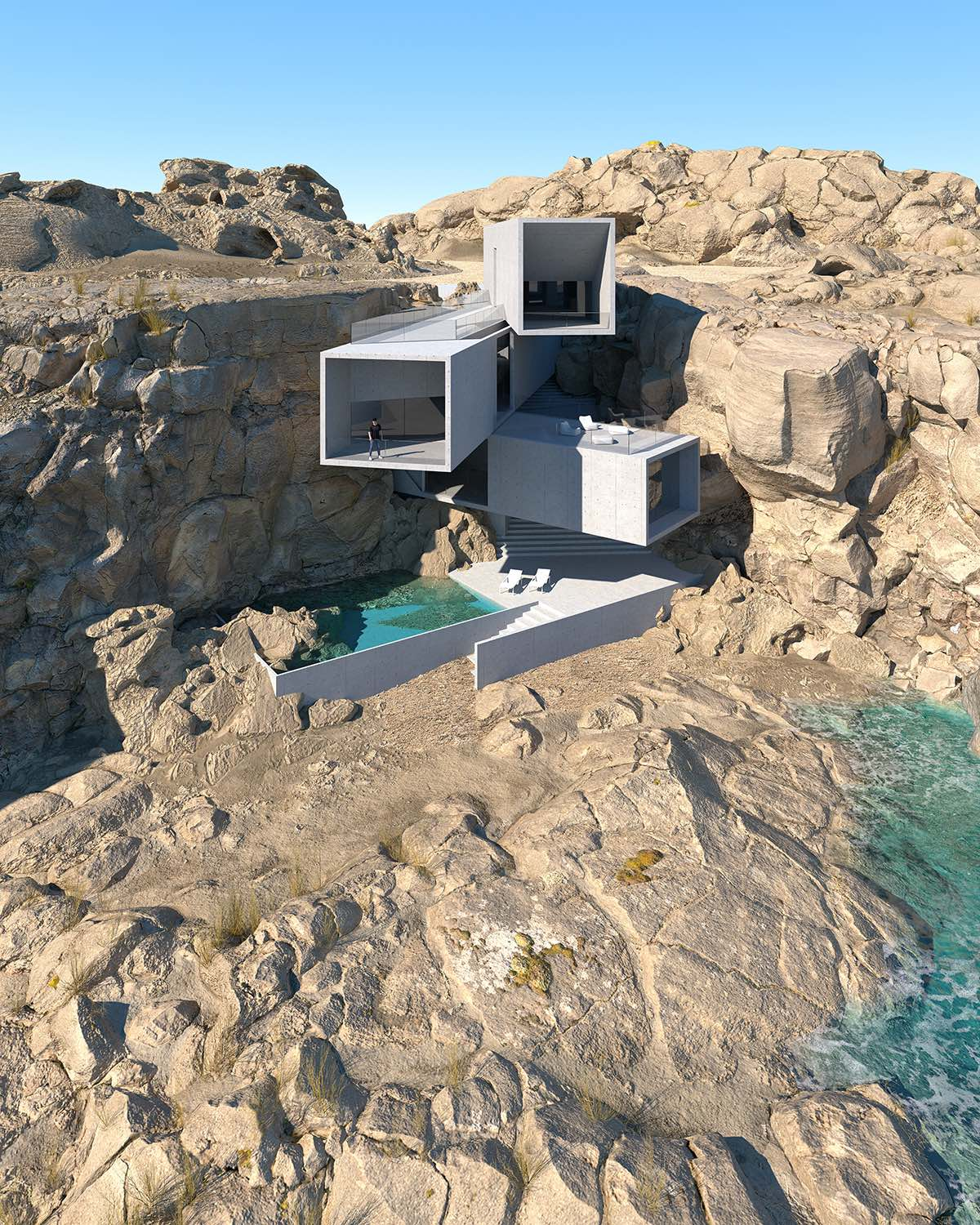 a concrete house inside the rocks in canary island
