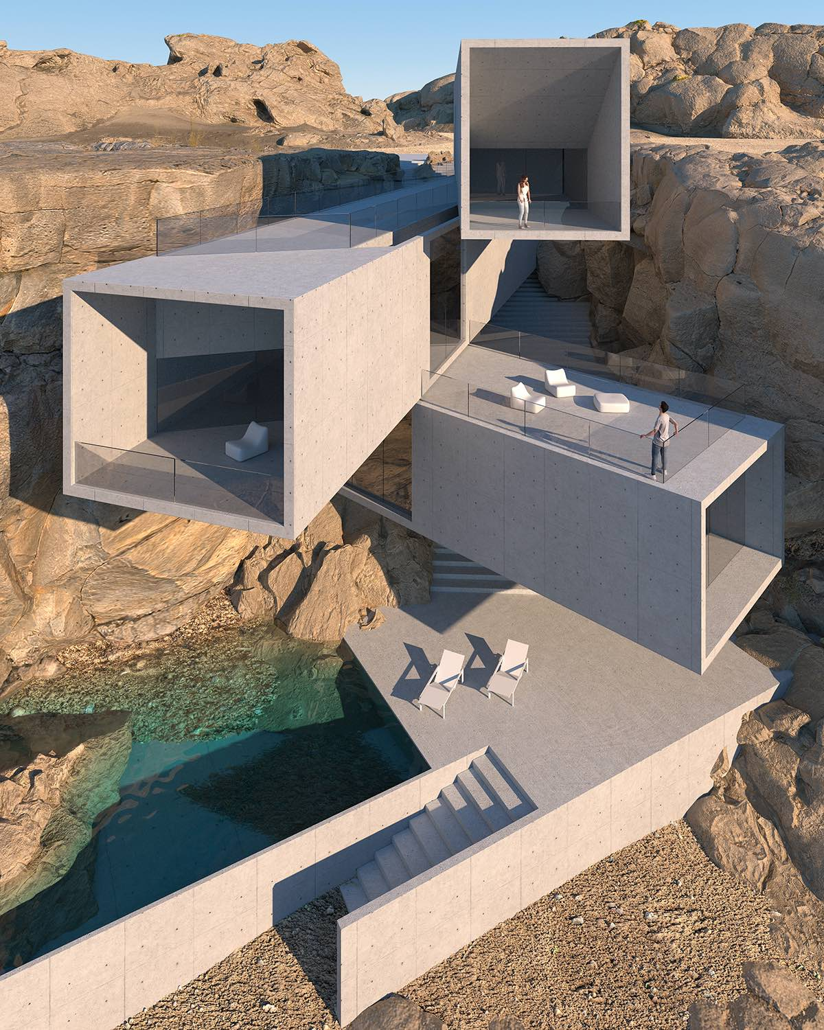 cliff house that shaped with rectangular concrete forms