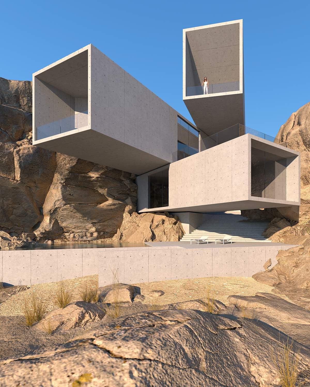 rectangular concrete volumes overlapped inside the rock