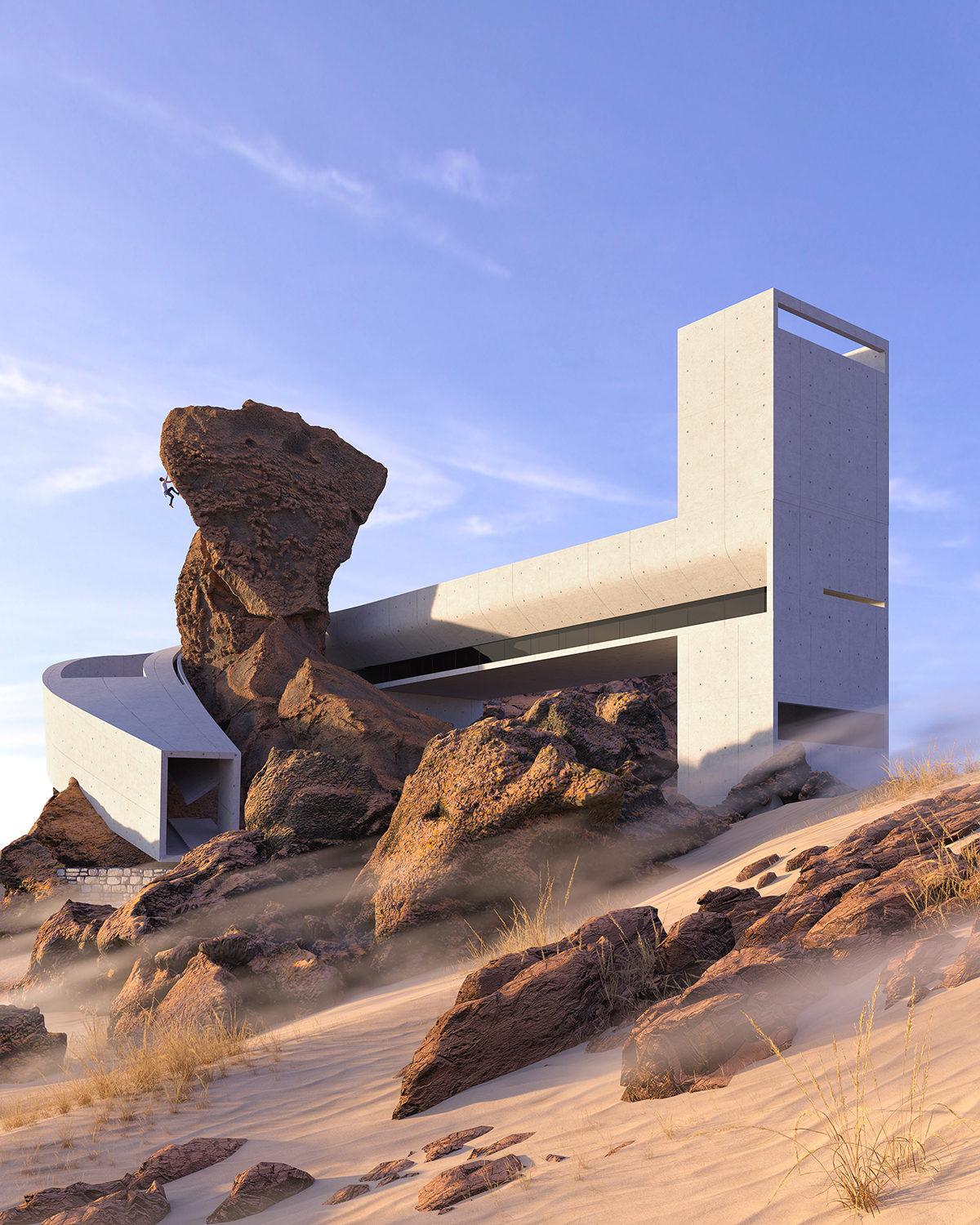 a concrete house twisted around the rock in wadi rum desert