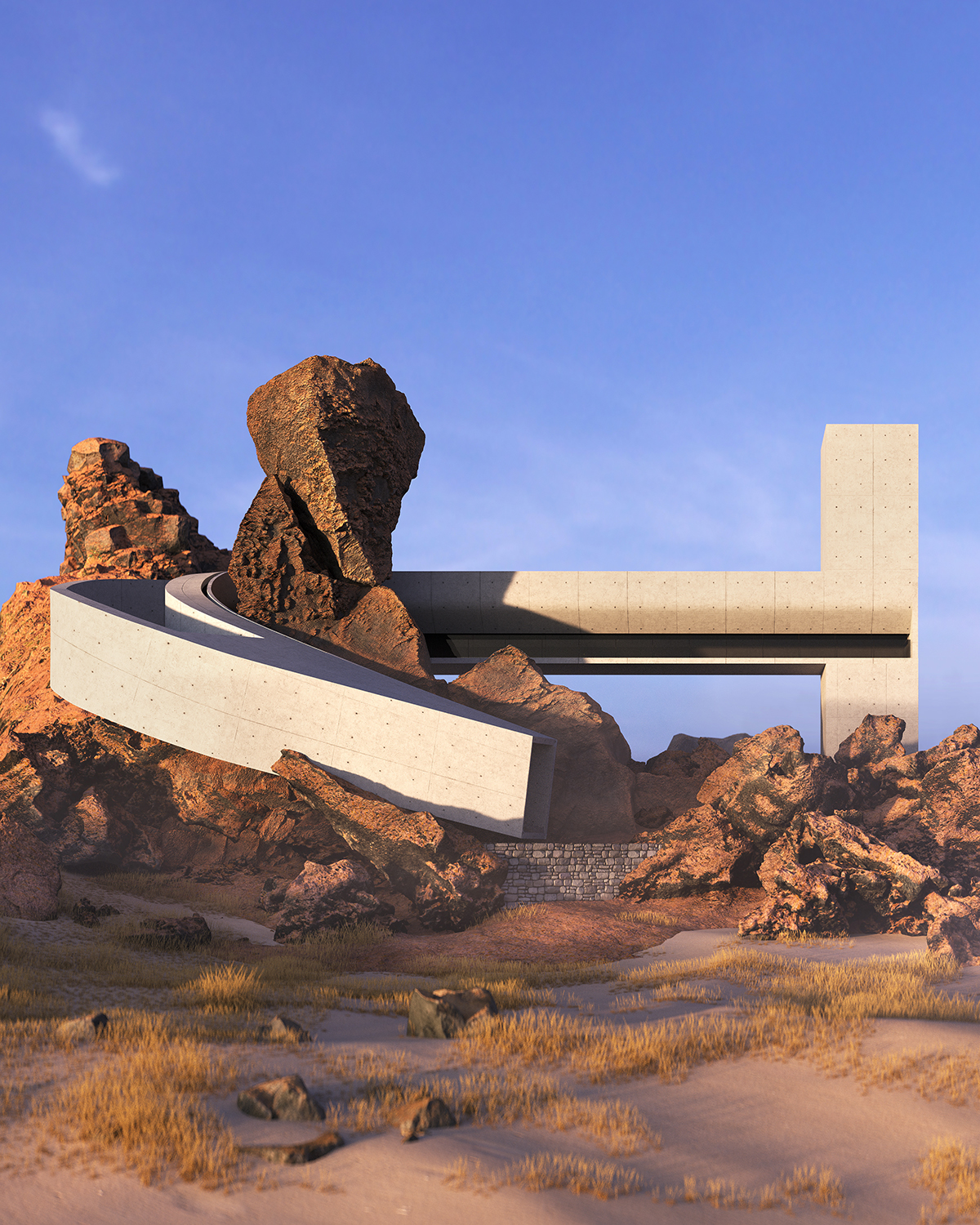concrete house around the rocky stone in desert