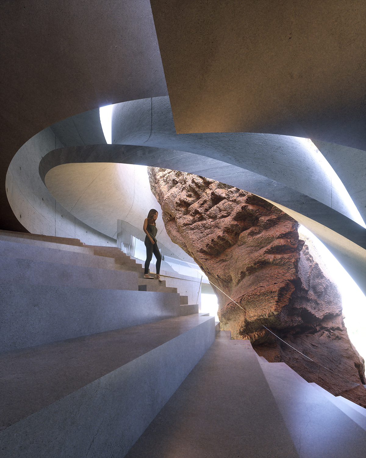 woman walking on staircase in a concrete house that has rock inside