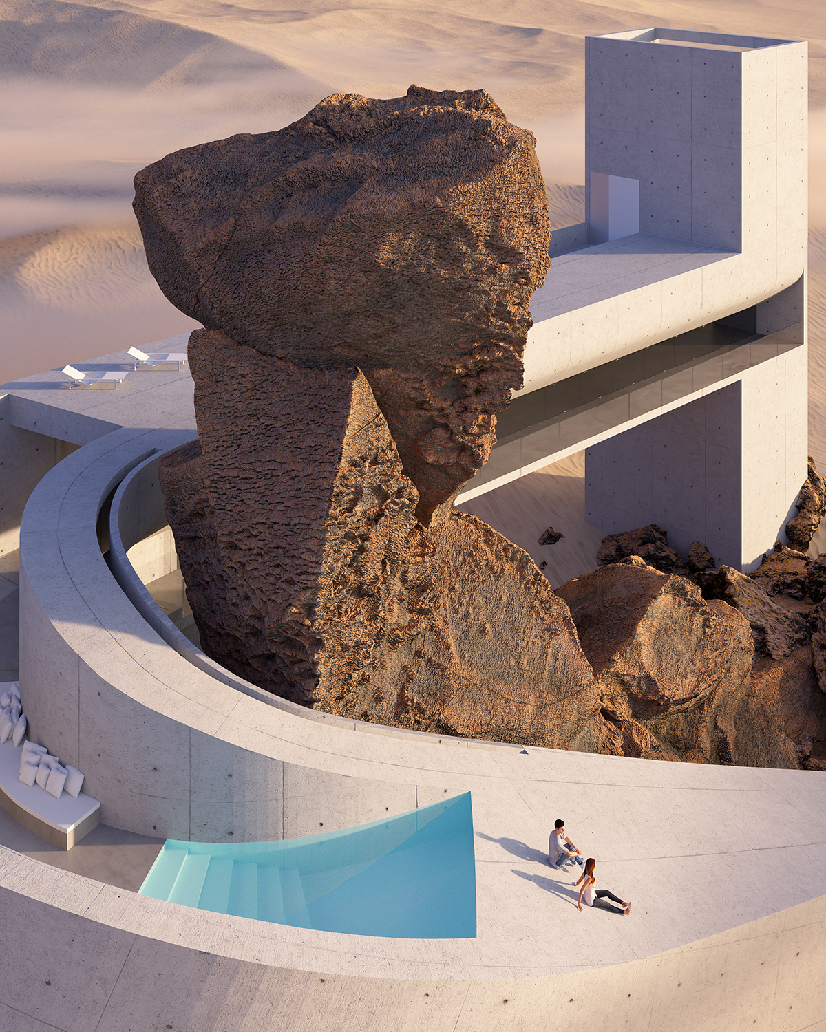 concrete house in shape of bride twisted around red rock