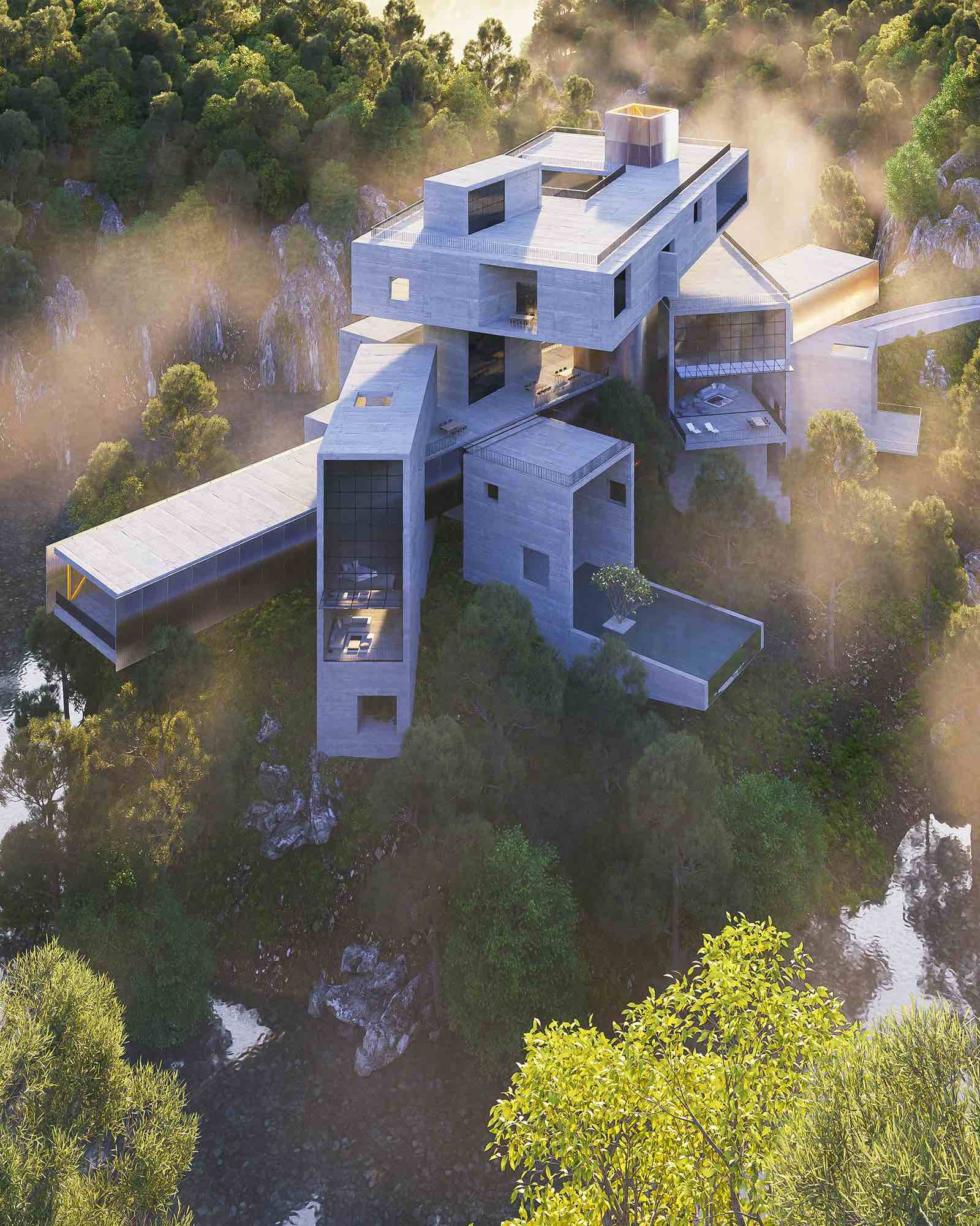 a concrete hotel in the middle of nature inspired by Elt castle in Germany