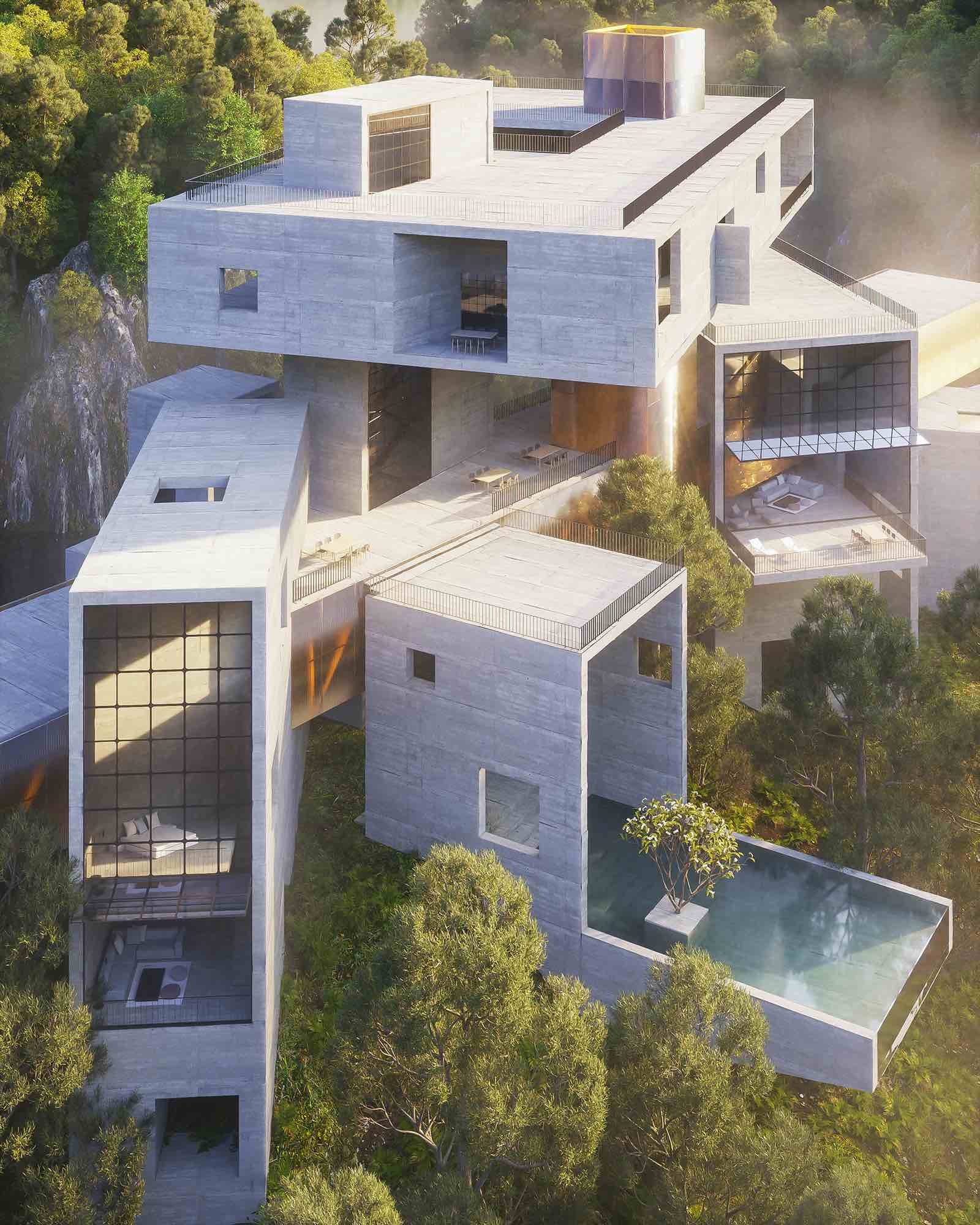 concrete hotel with cantilevered swimming pool