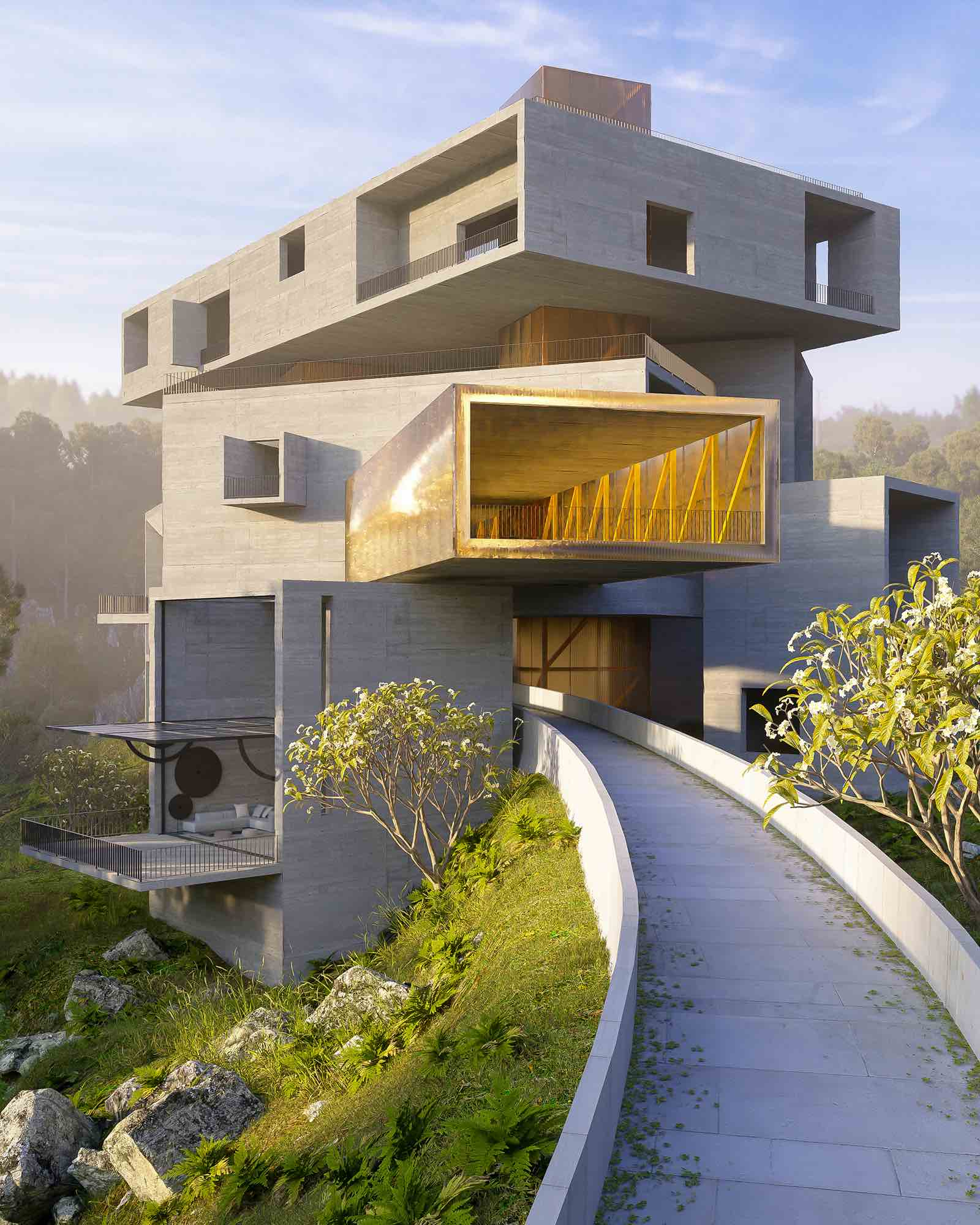 concrete structure with shape of boxes