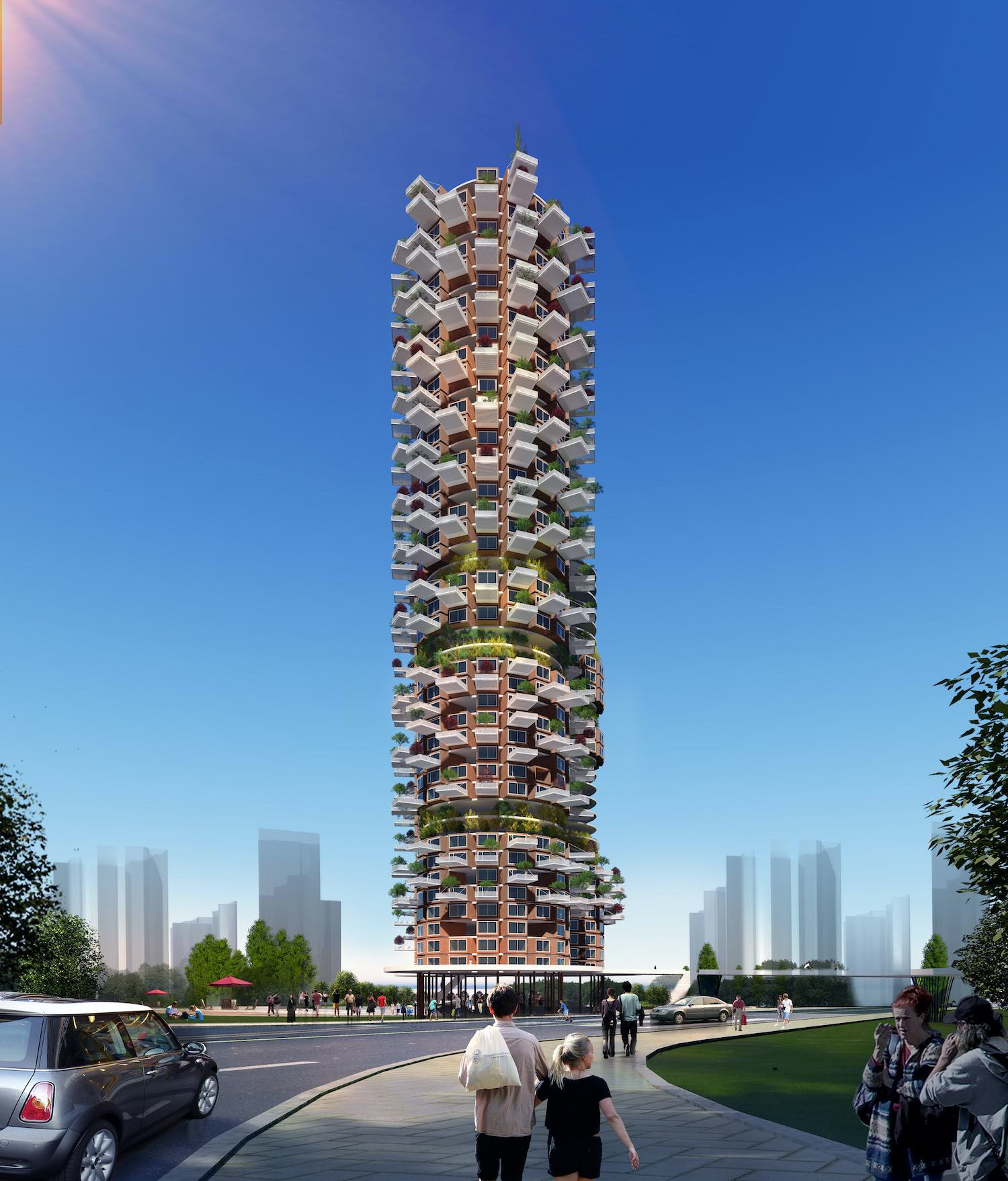 a sustainable skyscraper with green balconies