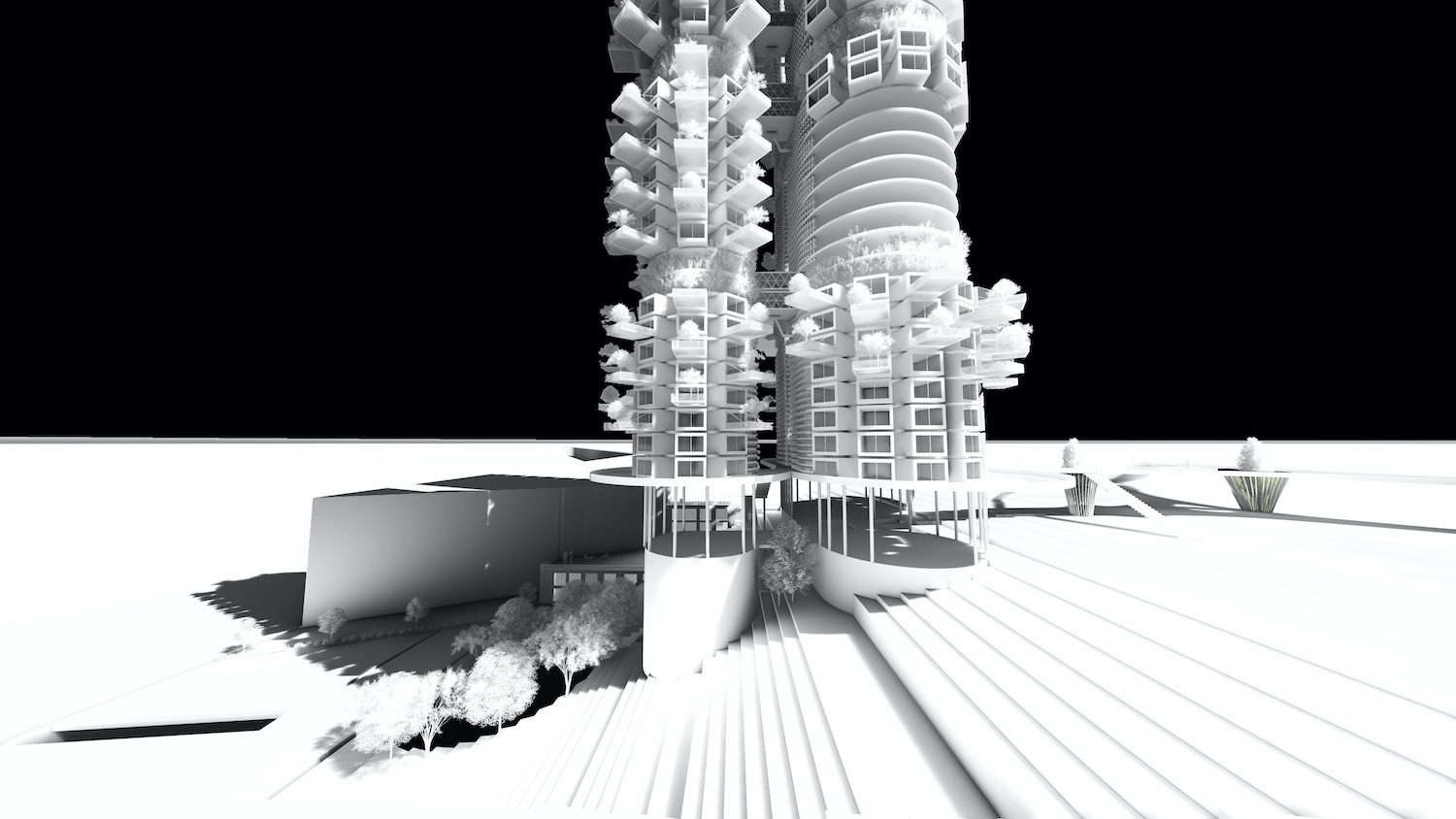 black and white rendering images of skyscraper