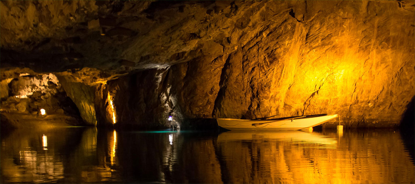 a boat in an underground cave