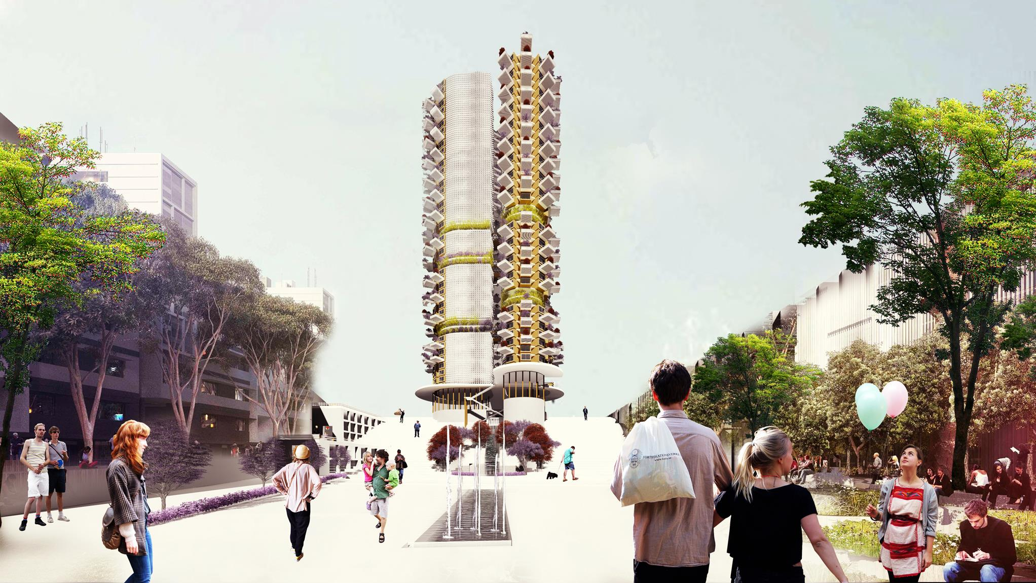 a skyscraper in Iran inspired by ancient Iranian adequact