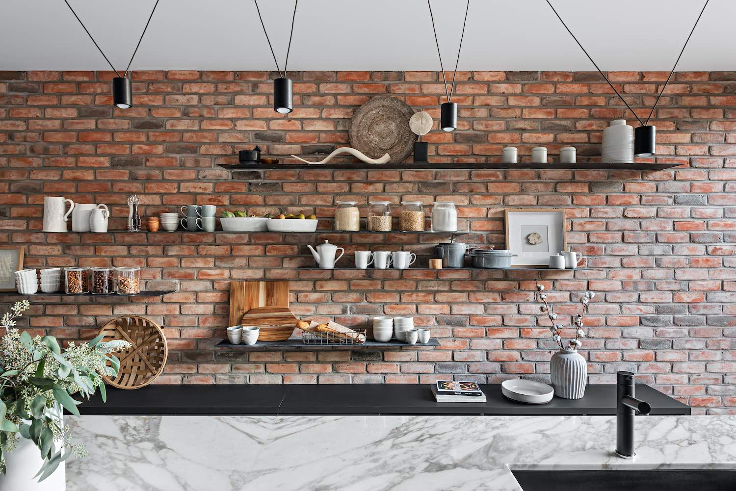 shelves on the brick wall