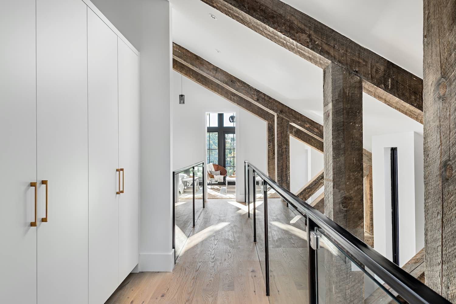 triangular ceiling with wooden beams