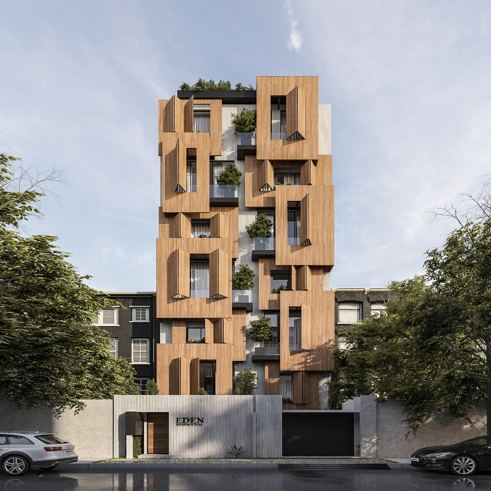 residential building in Iran with green terraces and wooden facade