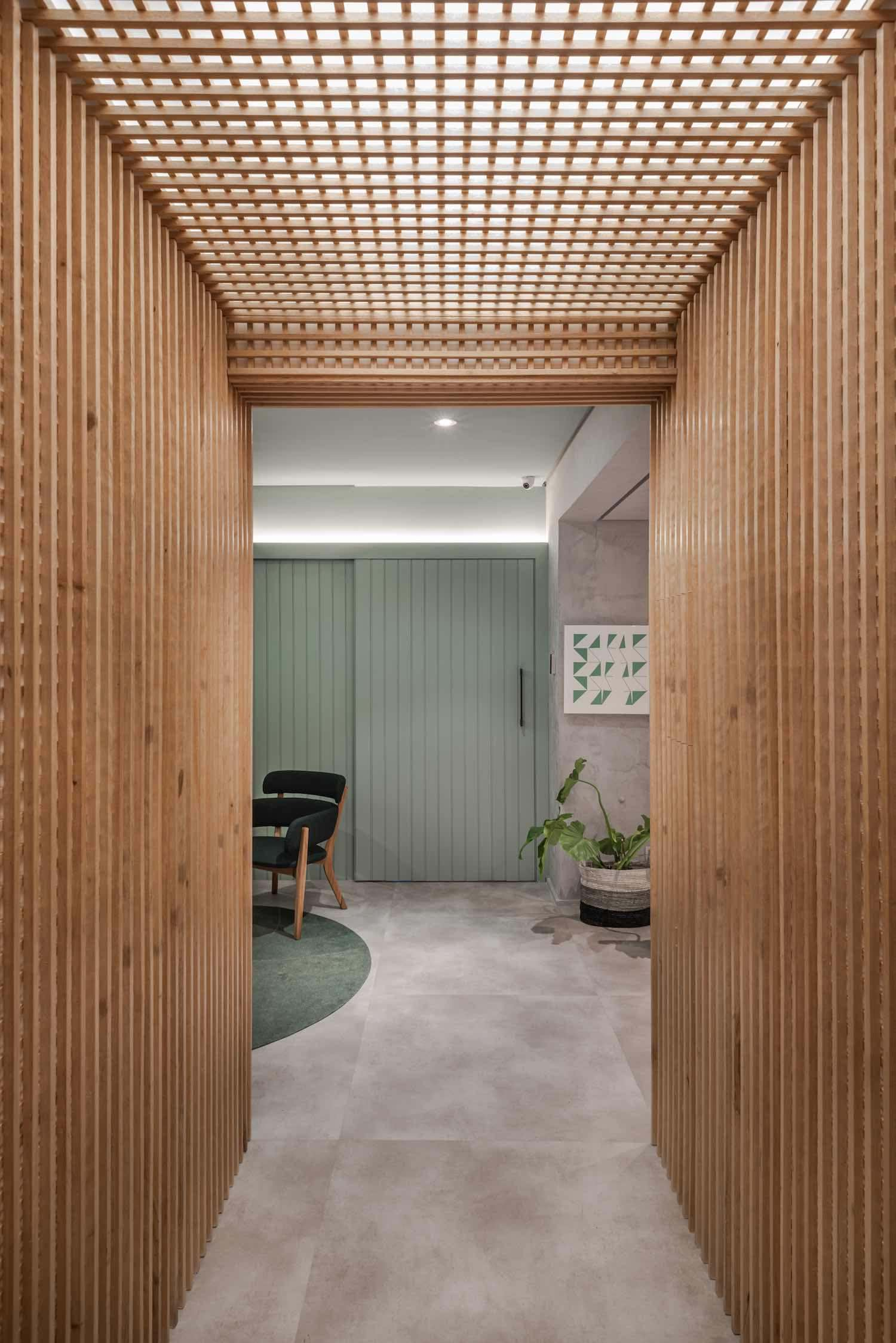 wall and ceiling finished with wooden material