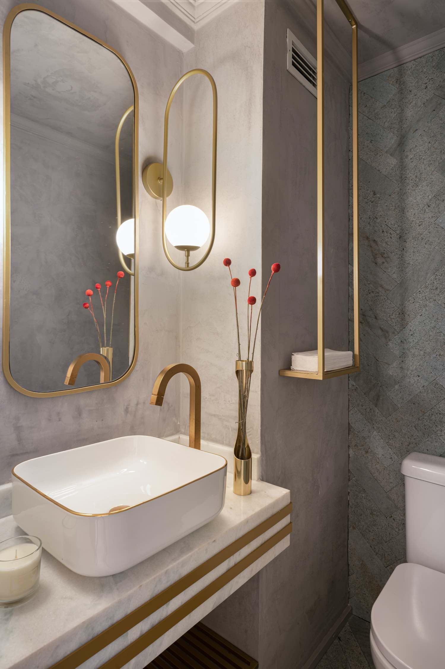 stylish washing basin inside bathroom