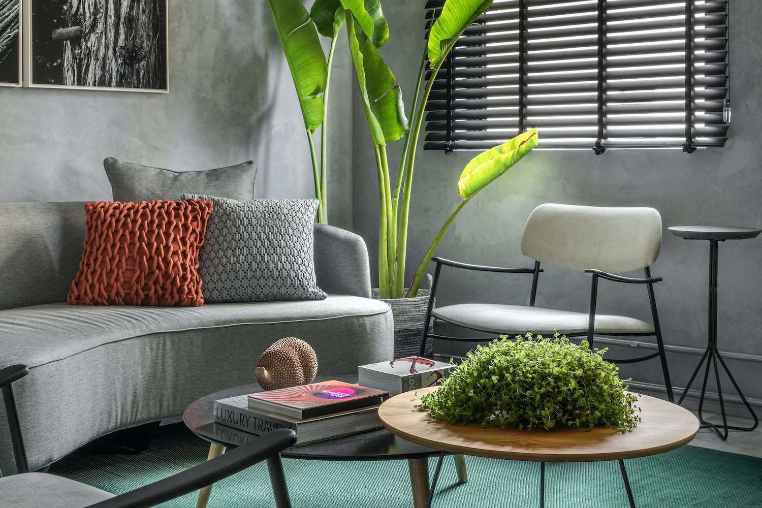 a living area with curved sofa and armchairs
