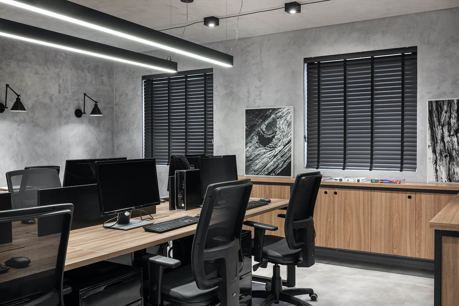 office area with desk and computers
