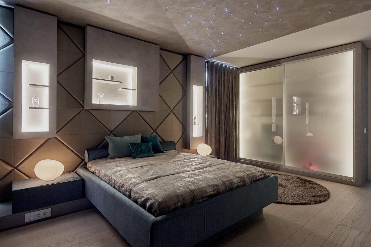 luxury bedroom with LED illuminating