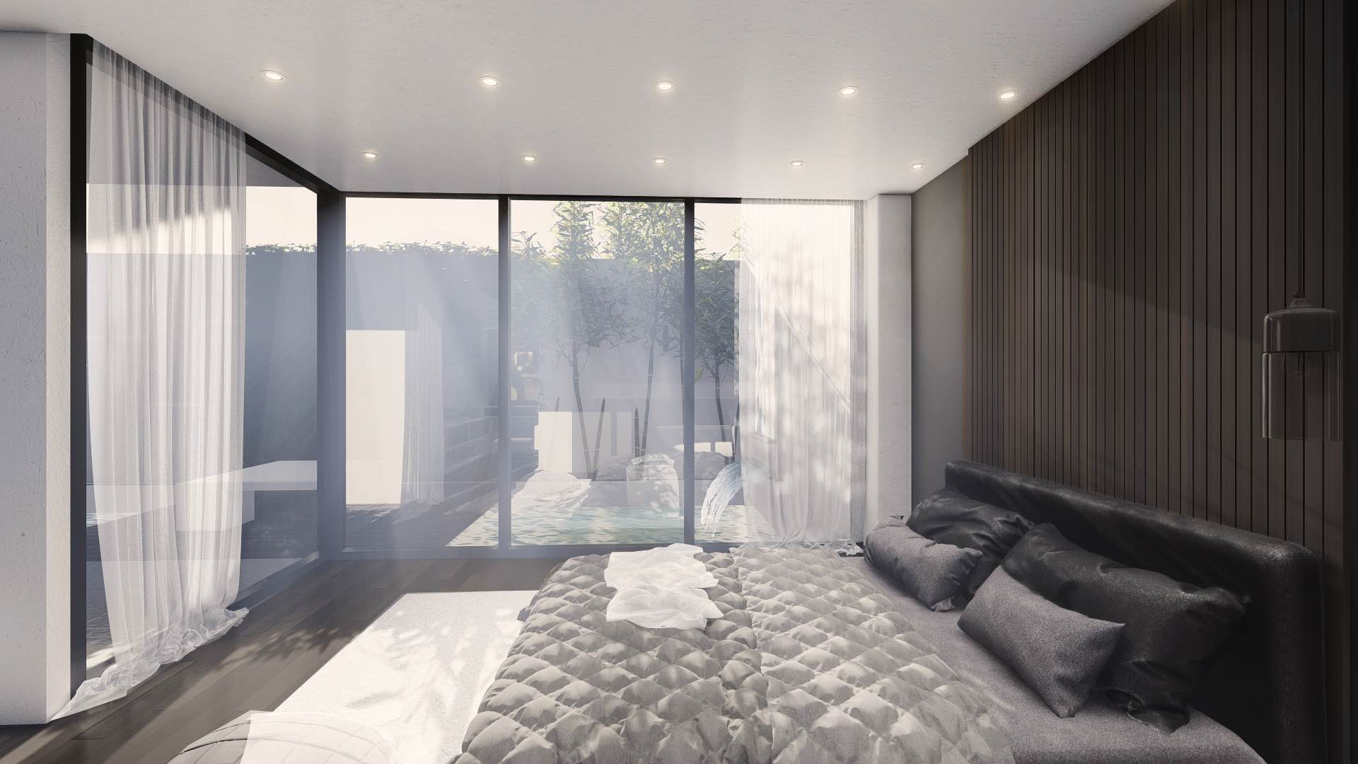bedroom with large windows