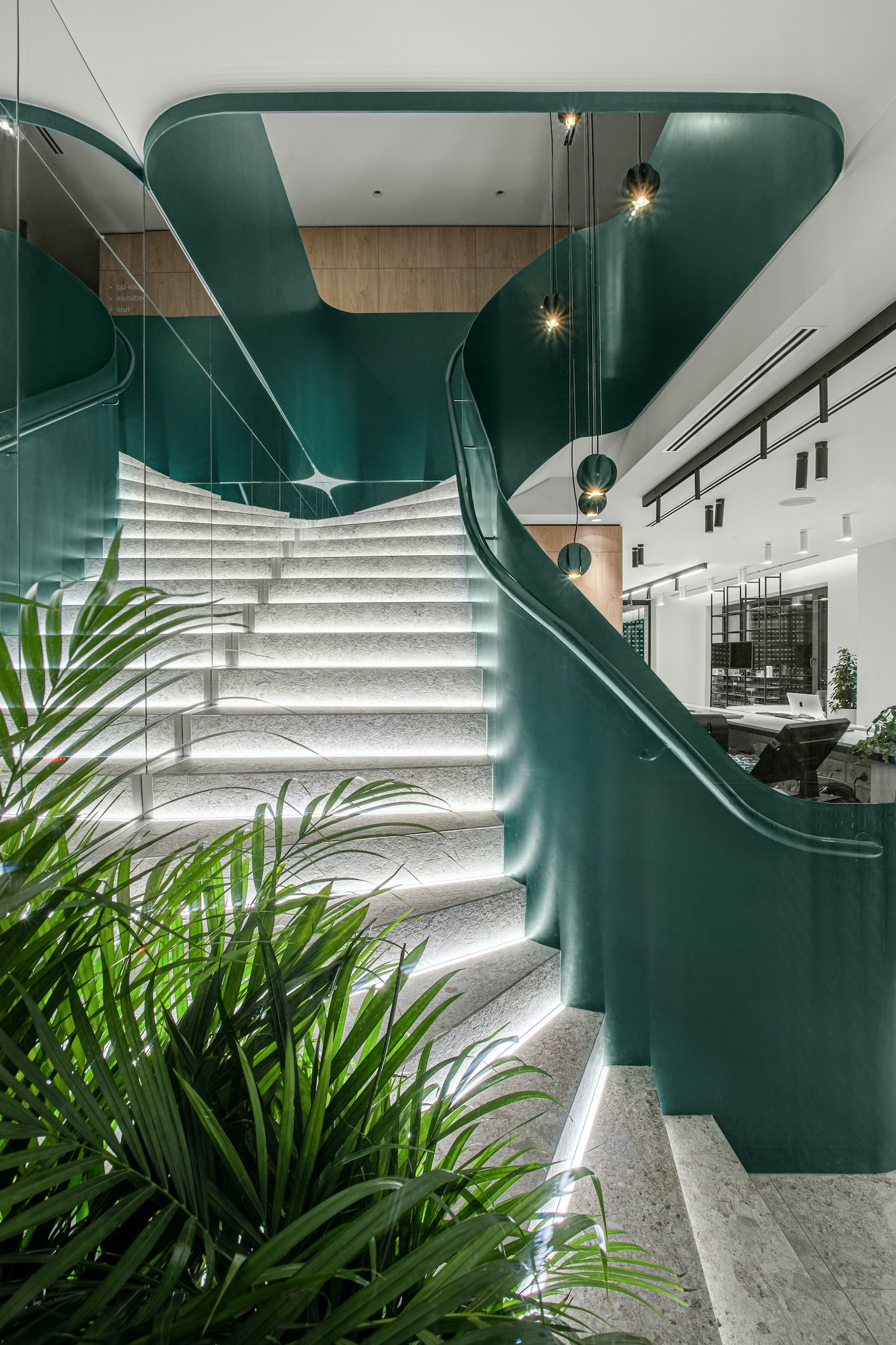 green staircase with led lighting