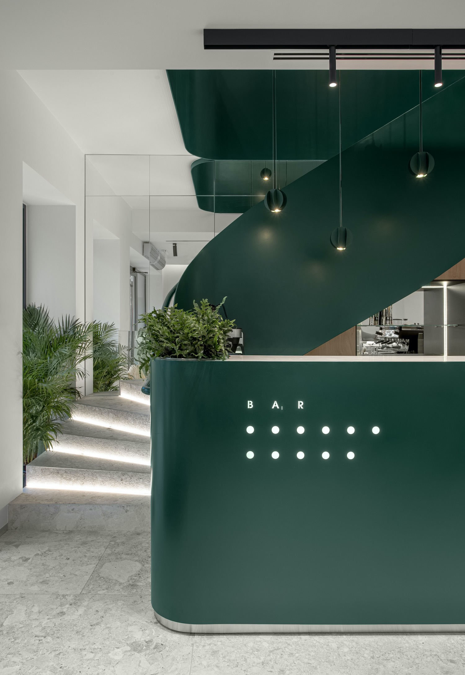 staircase with green color in a beauty salon