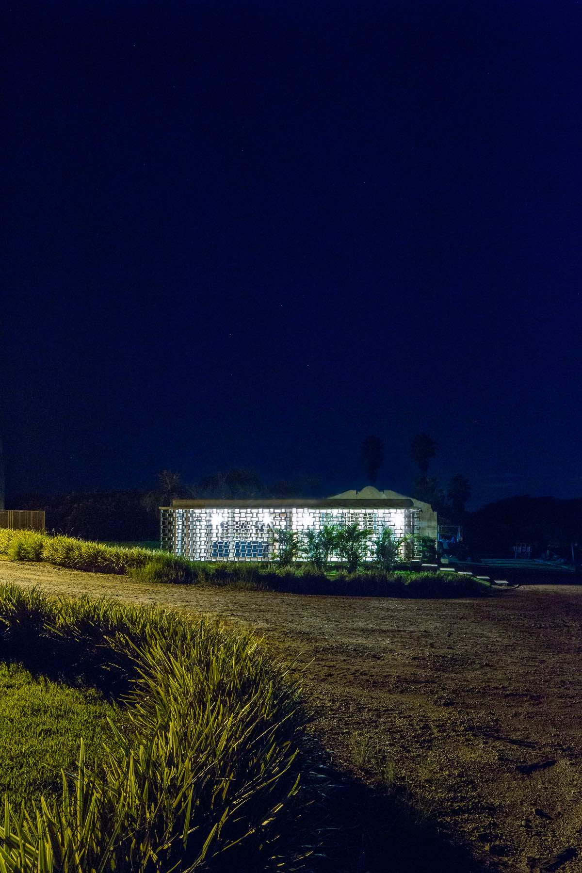 night view of the concrete pavilion