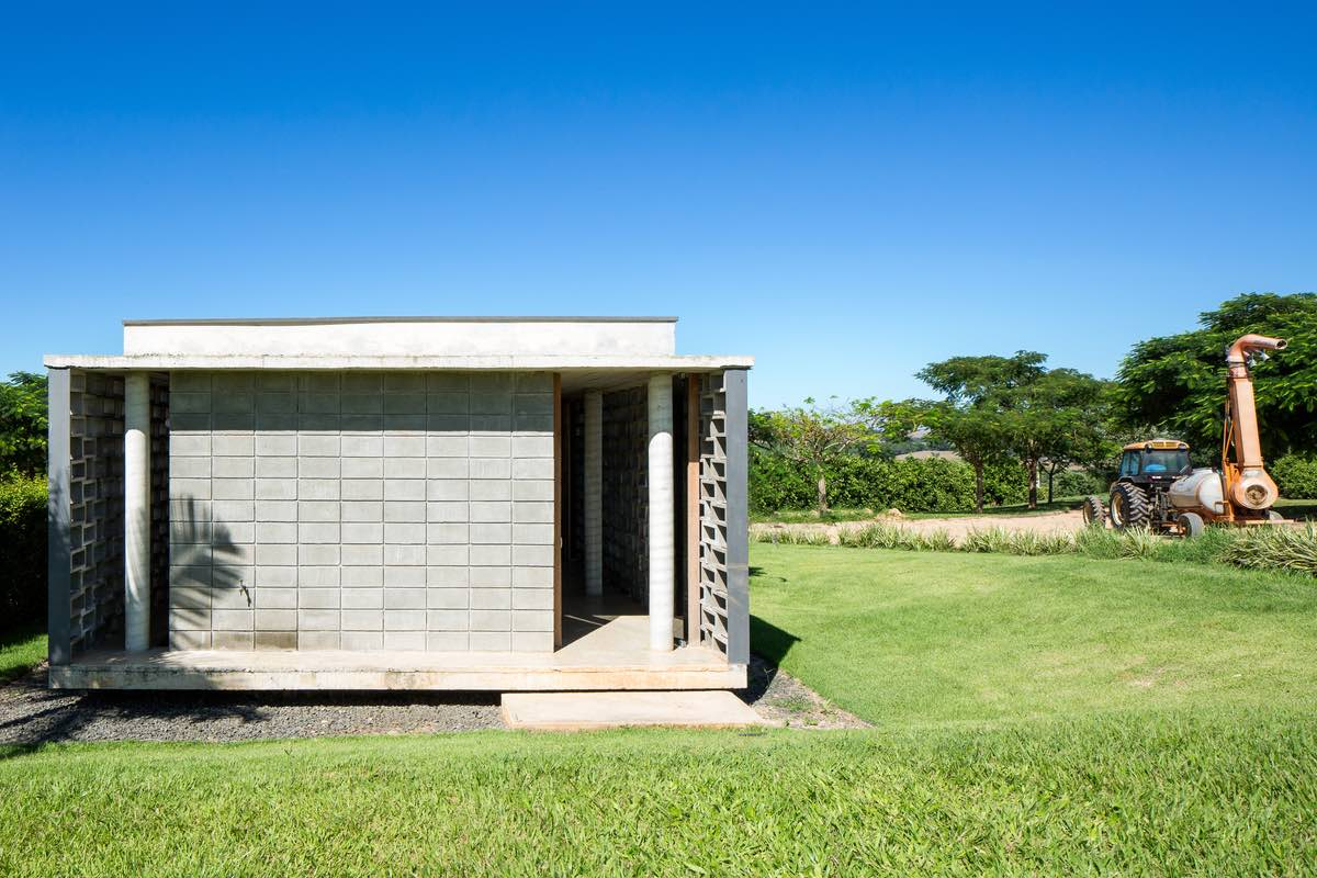 a concrete pavilion that served as dressing room