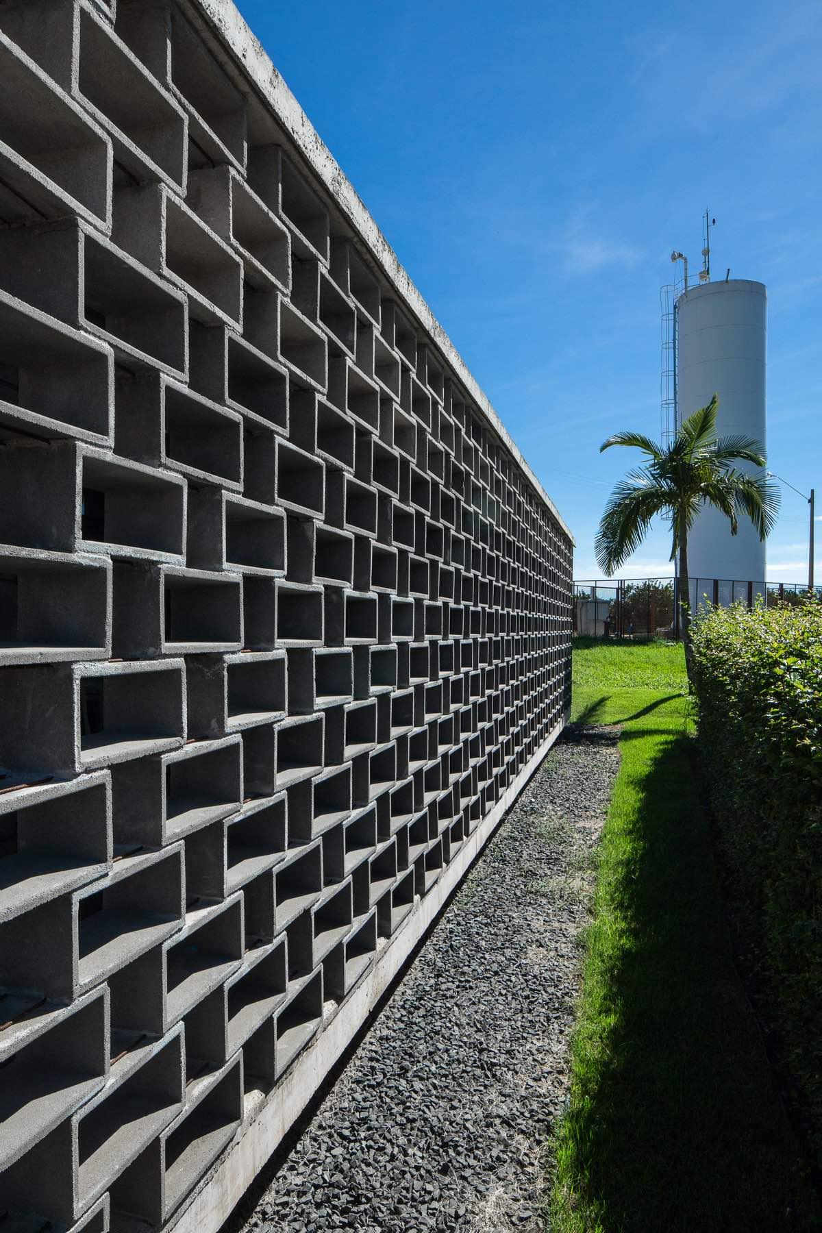 a facade with concrete blocks