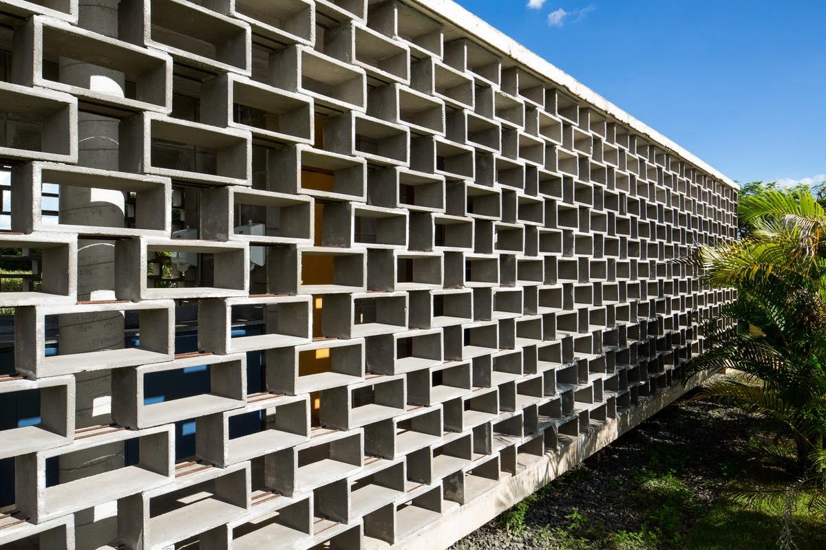a facade made of concrete blocks