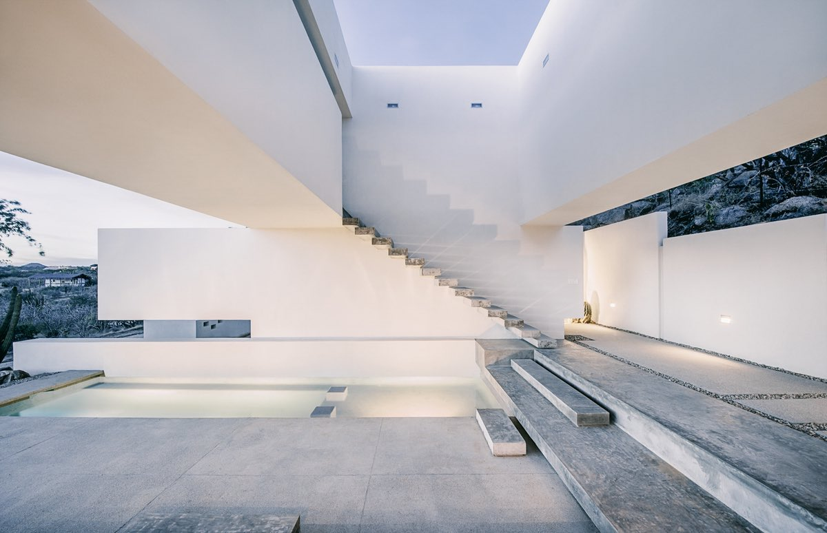 The beautiful concrete staircase of the house