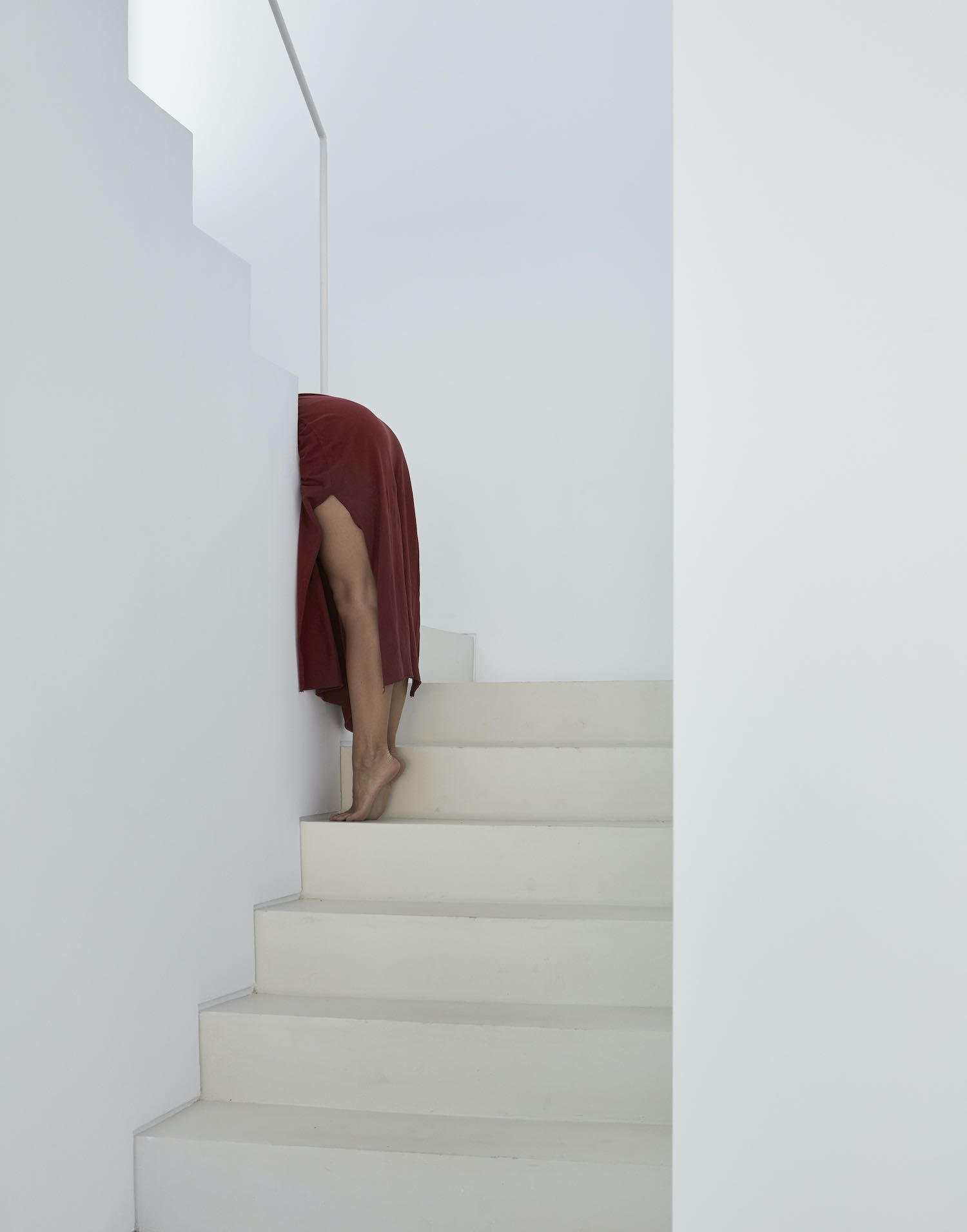 red dress woman on stairs