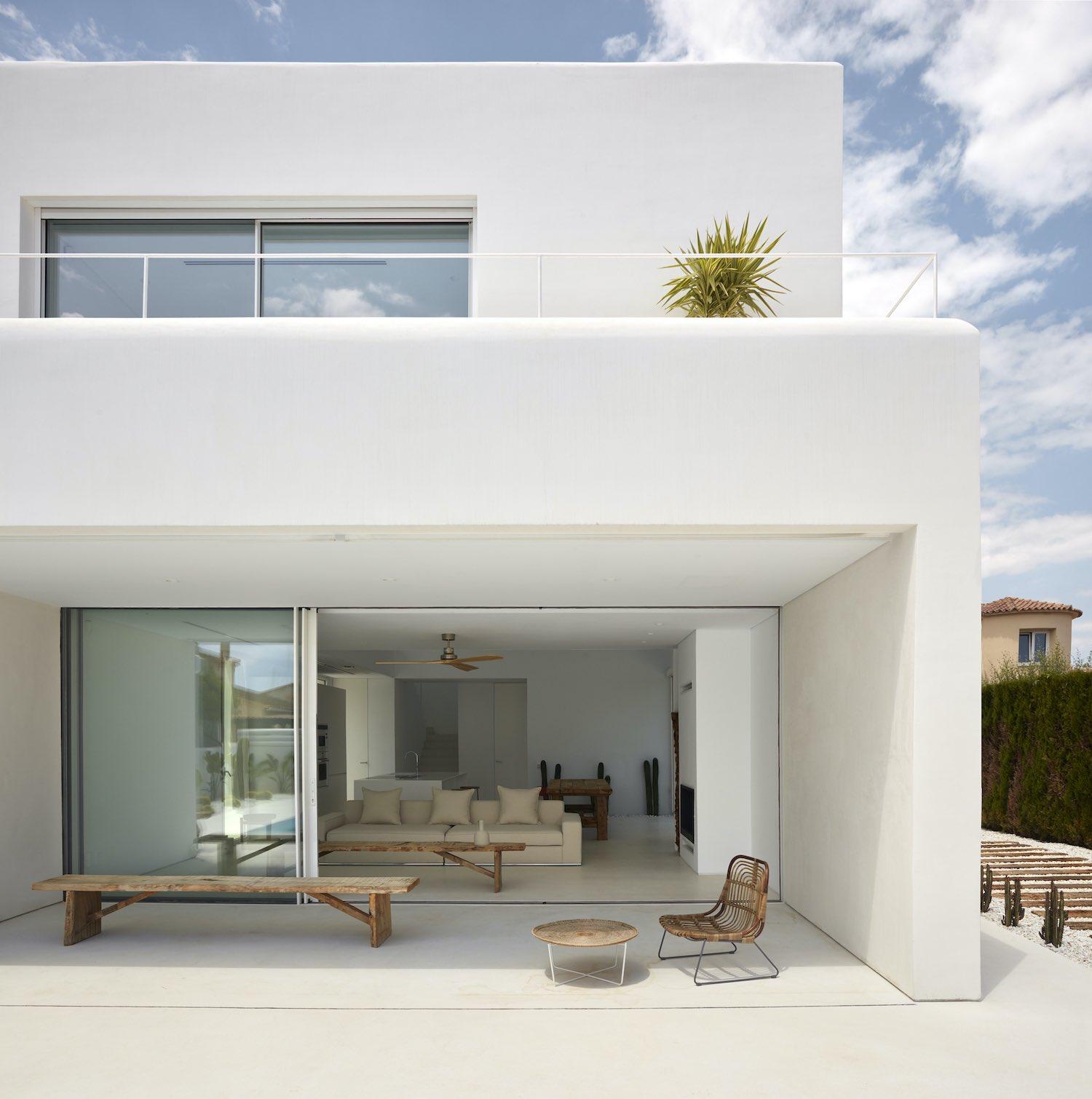 living room with opened slide door