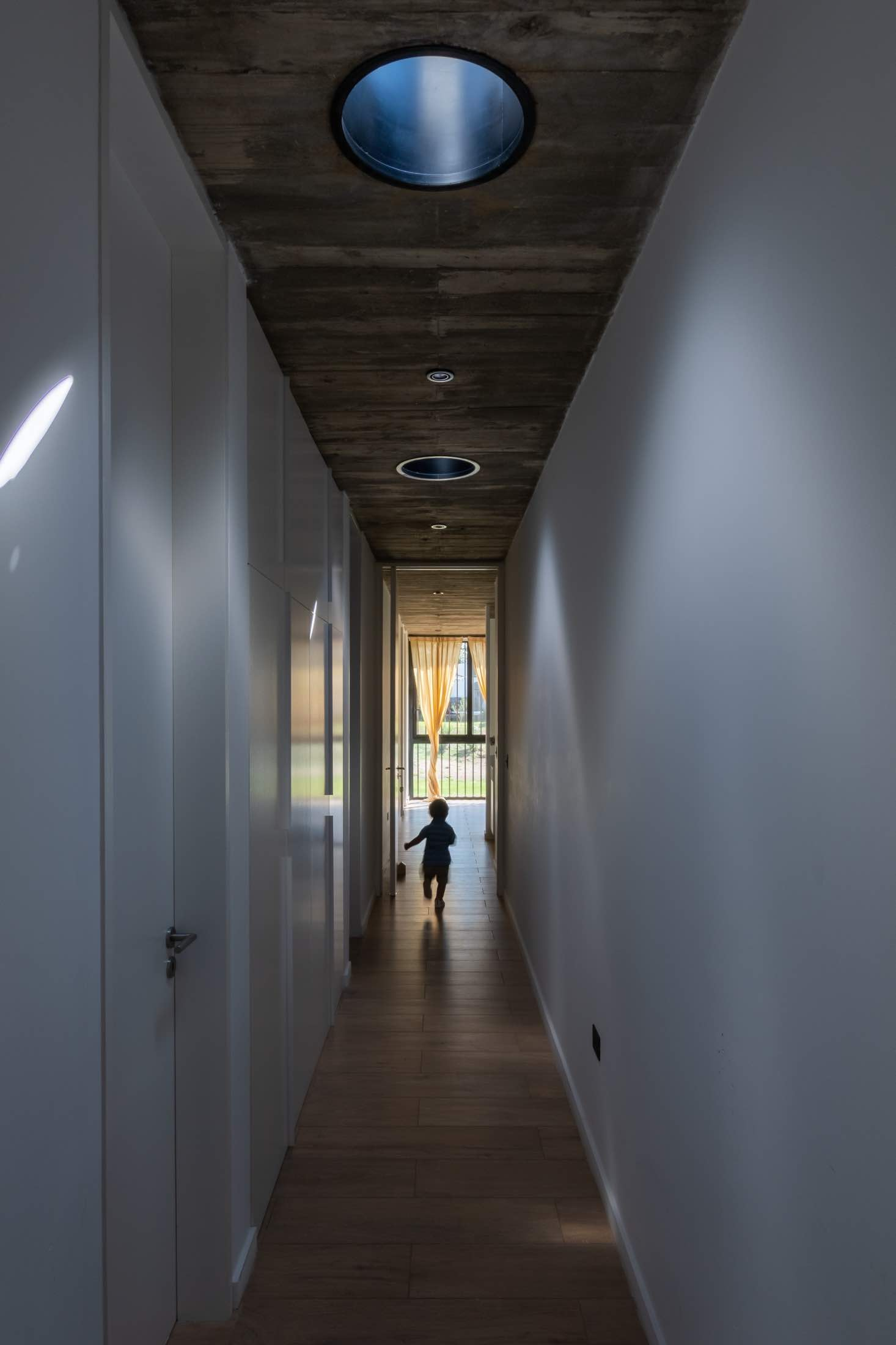 a child running in the corridor