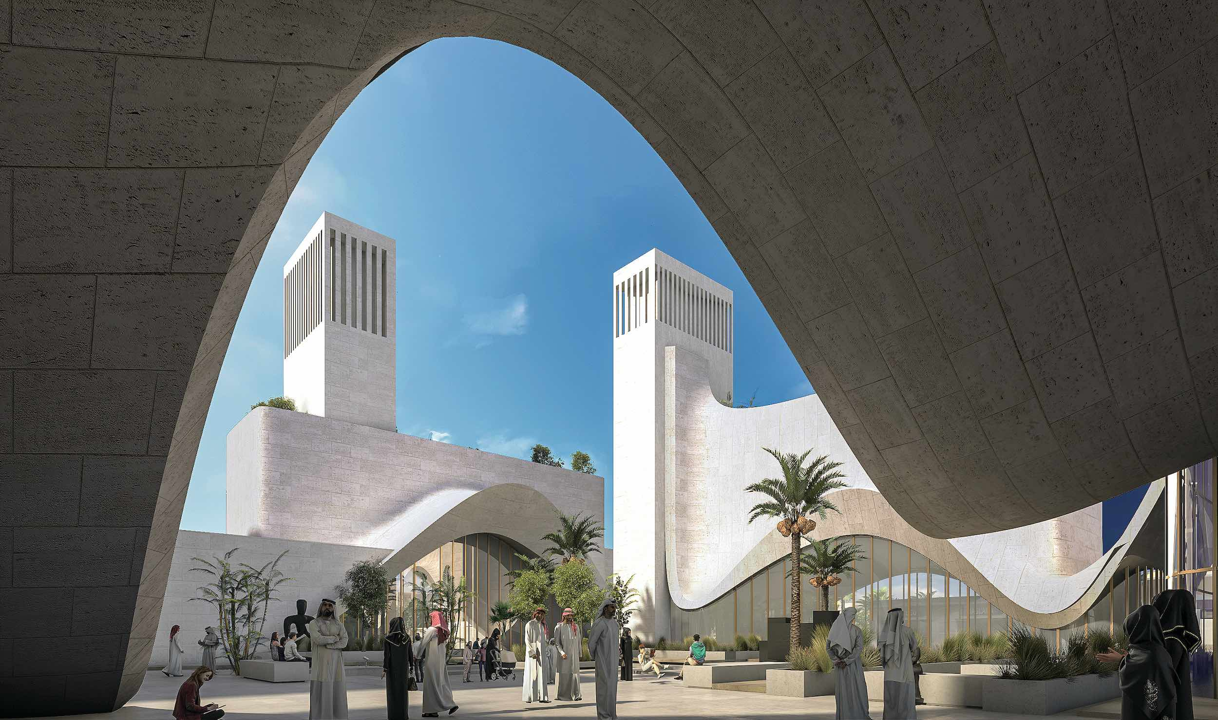 the interior of museum is inspired by ancient Arab courtyard