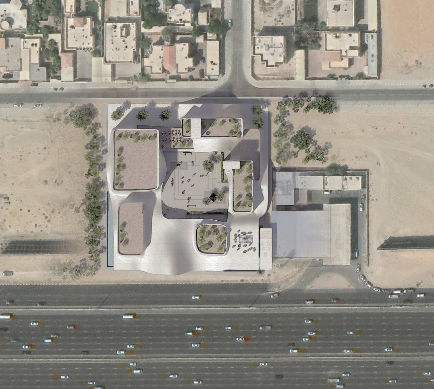 the site plan view from above