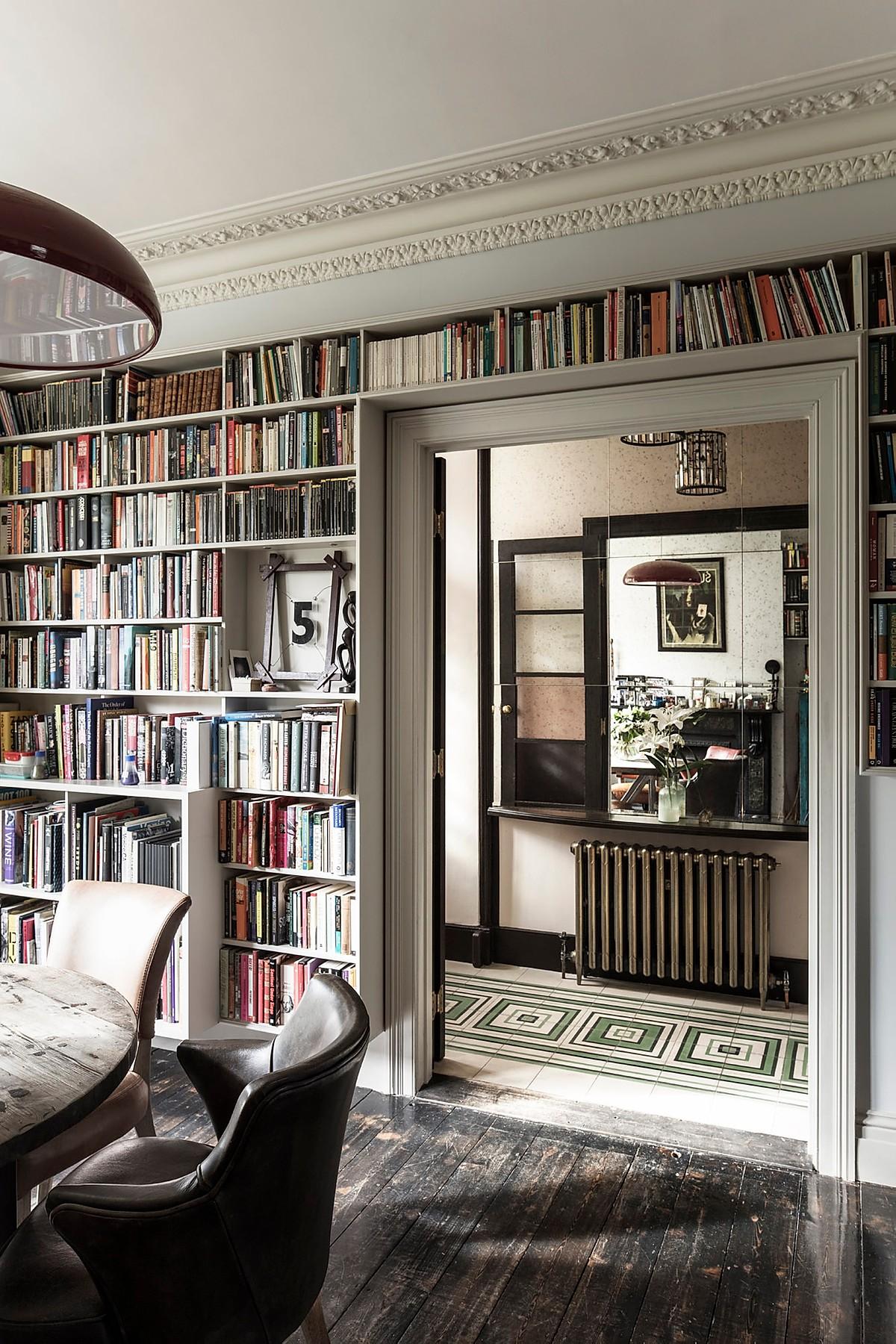 many books in the bookshelves