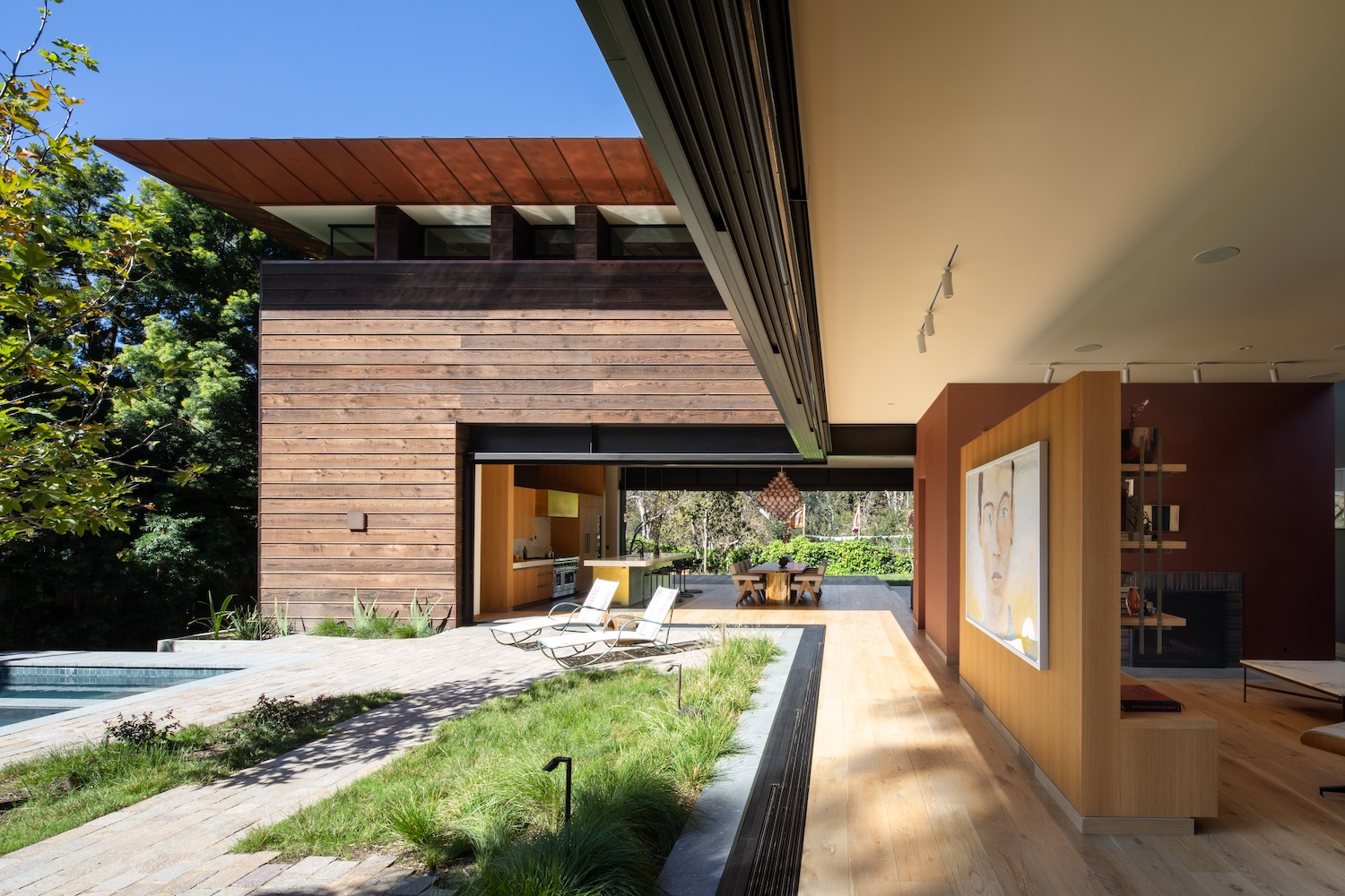modern house with wood facade in California
