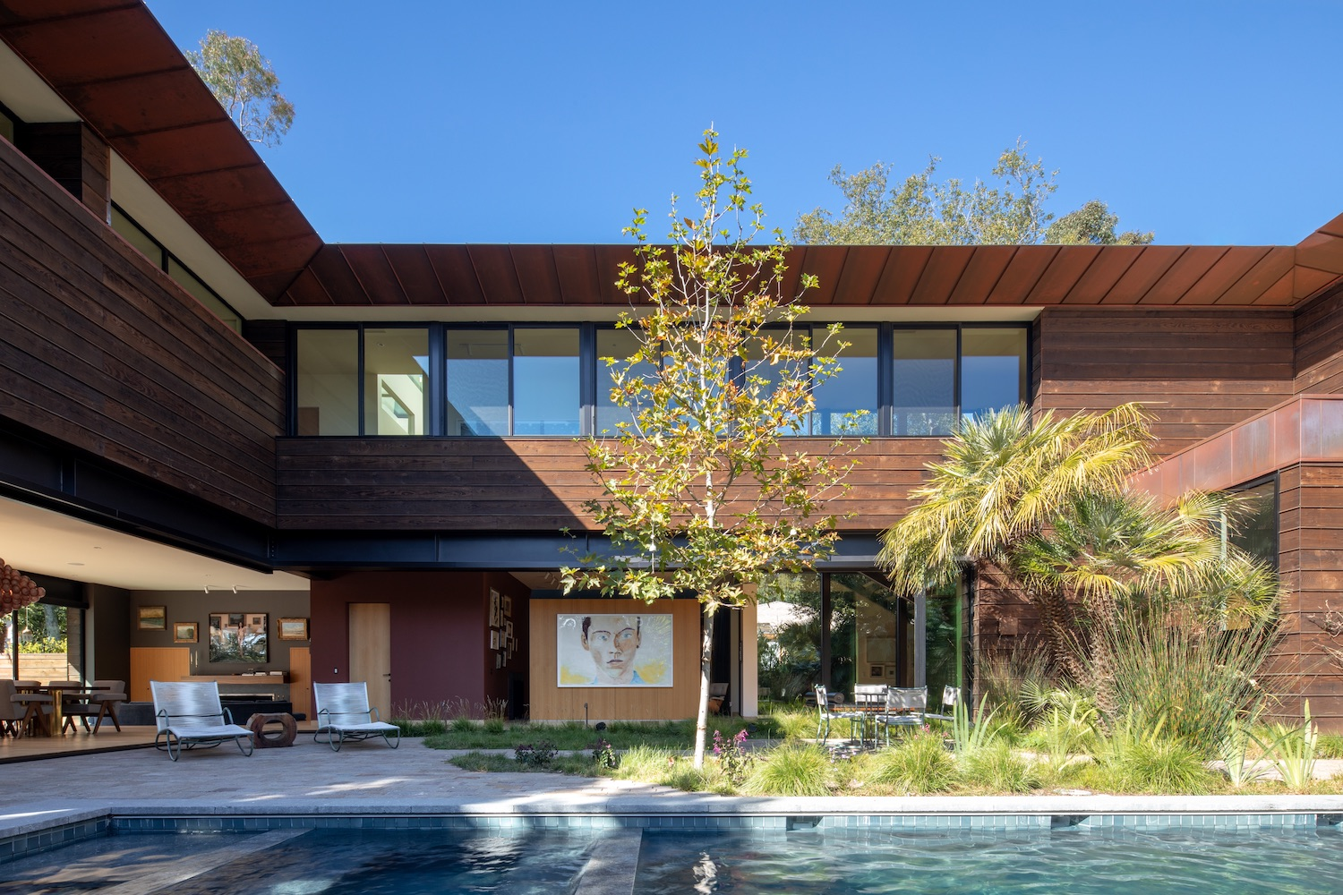 modern house design with swimming pool